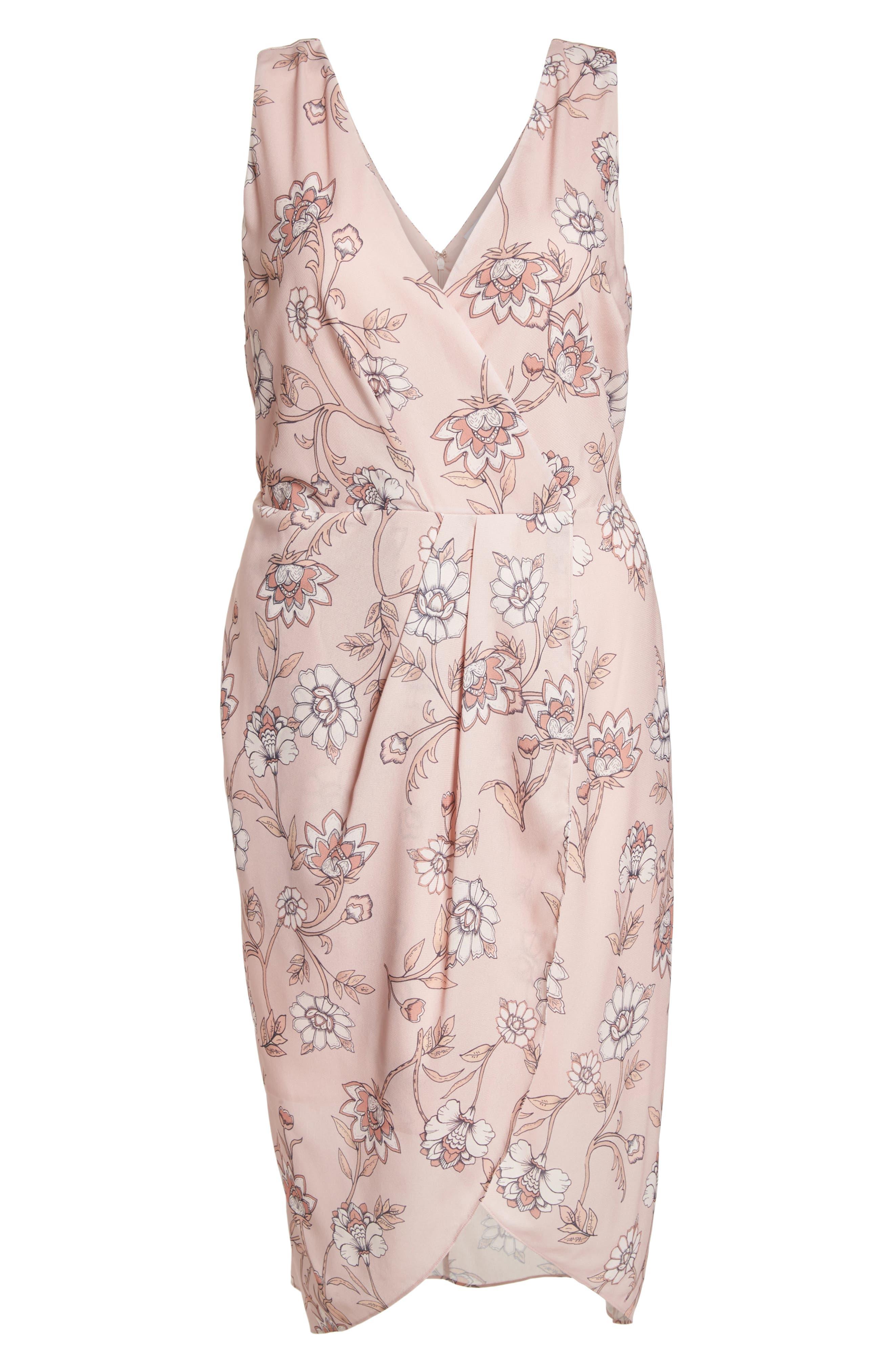 Fiorella Floral Drape Sheath Dress,                             Alternate thumbnail 7, color,                             650