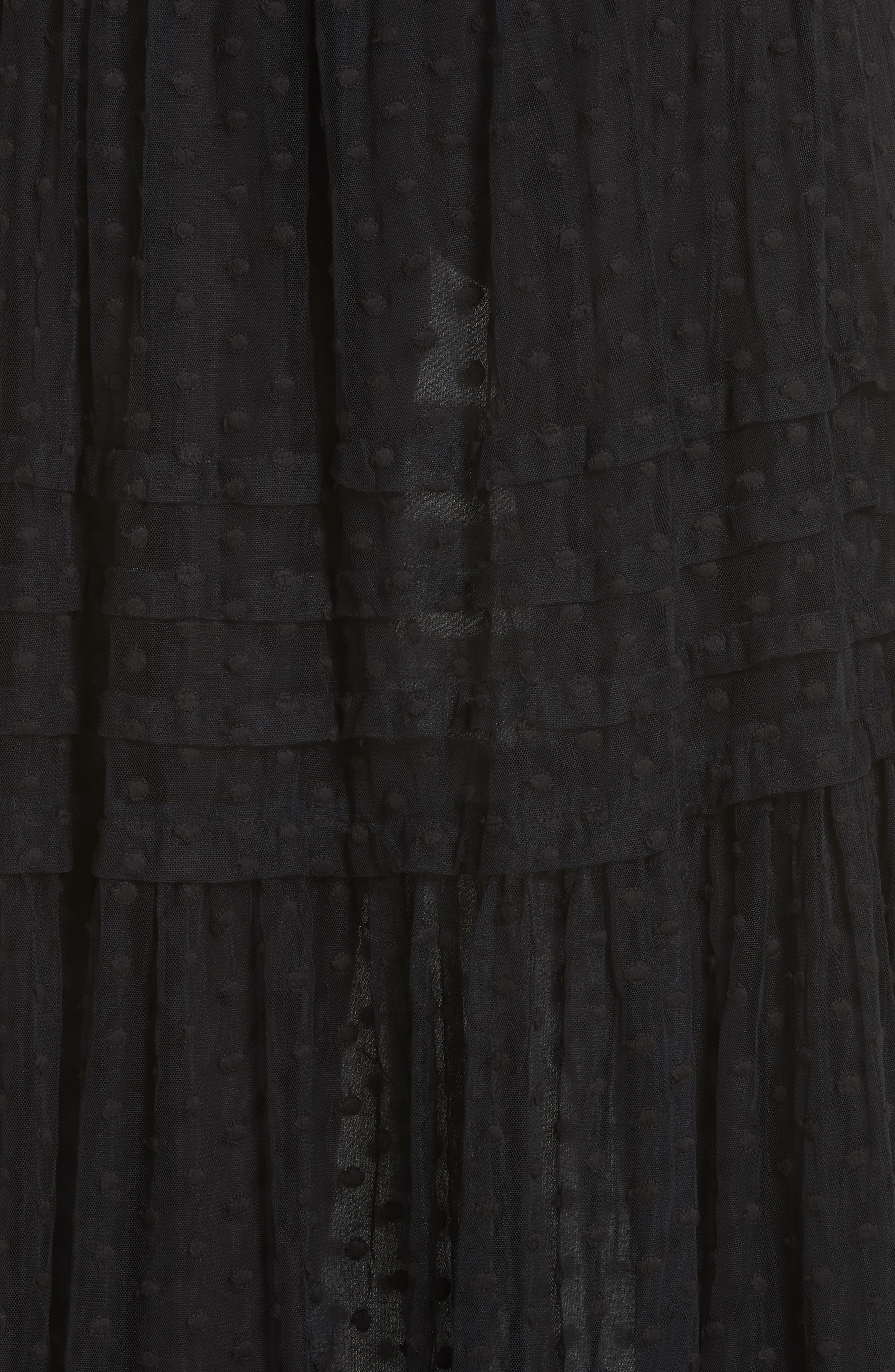 The Sway Polka Dot Mesh Skirt,                             Alternate thumbnail 5, color,                             BLACK