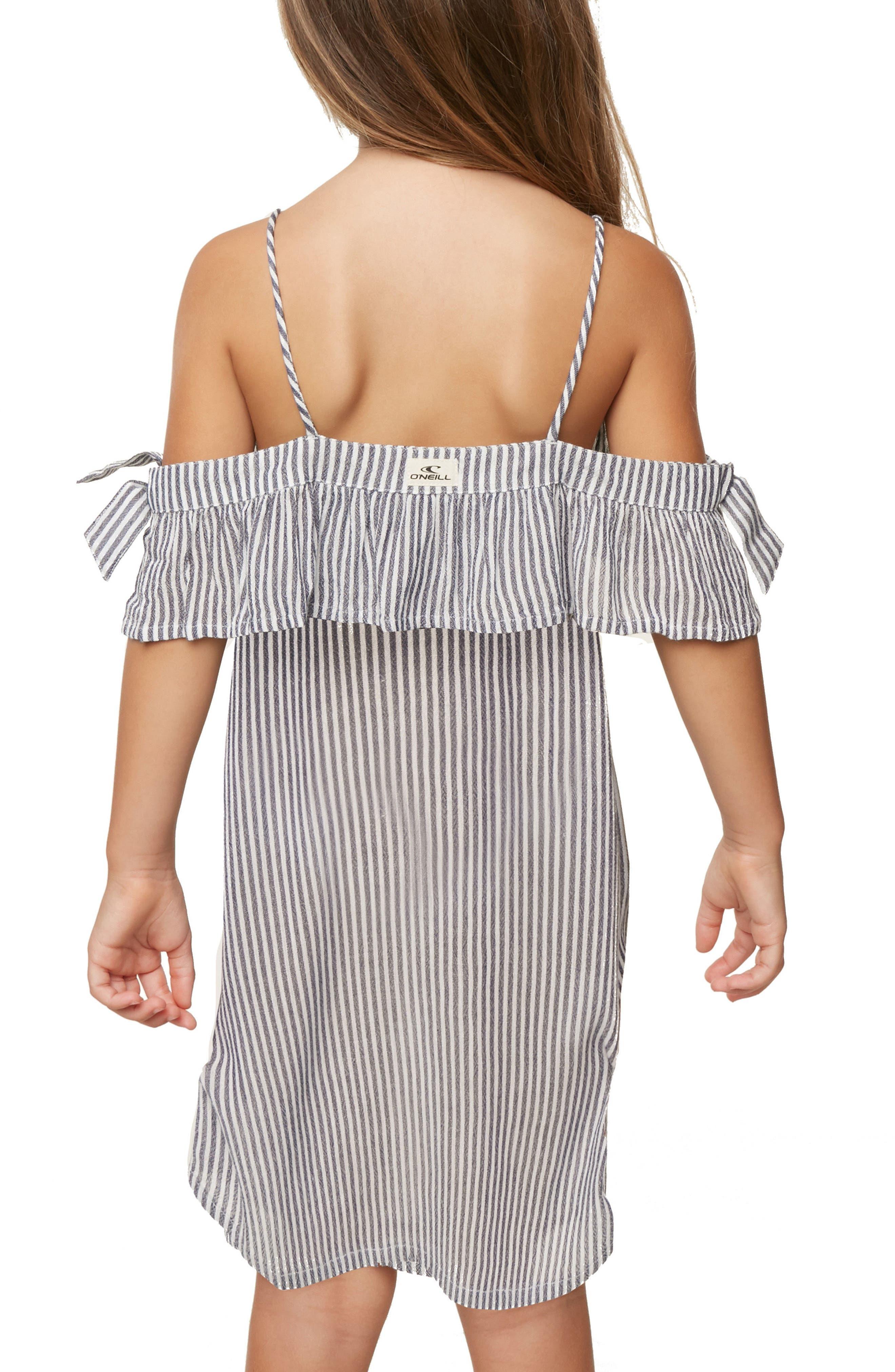 Myla Stripe Cold Shoulder Cover-Up Dress,                             Alternate thumbnail 6, color,                             WASHED INDIGO