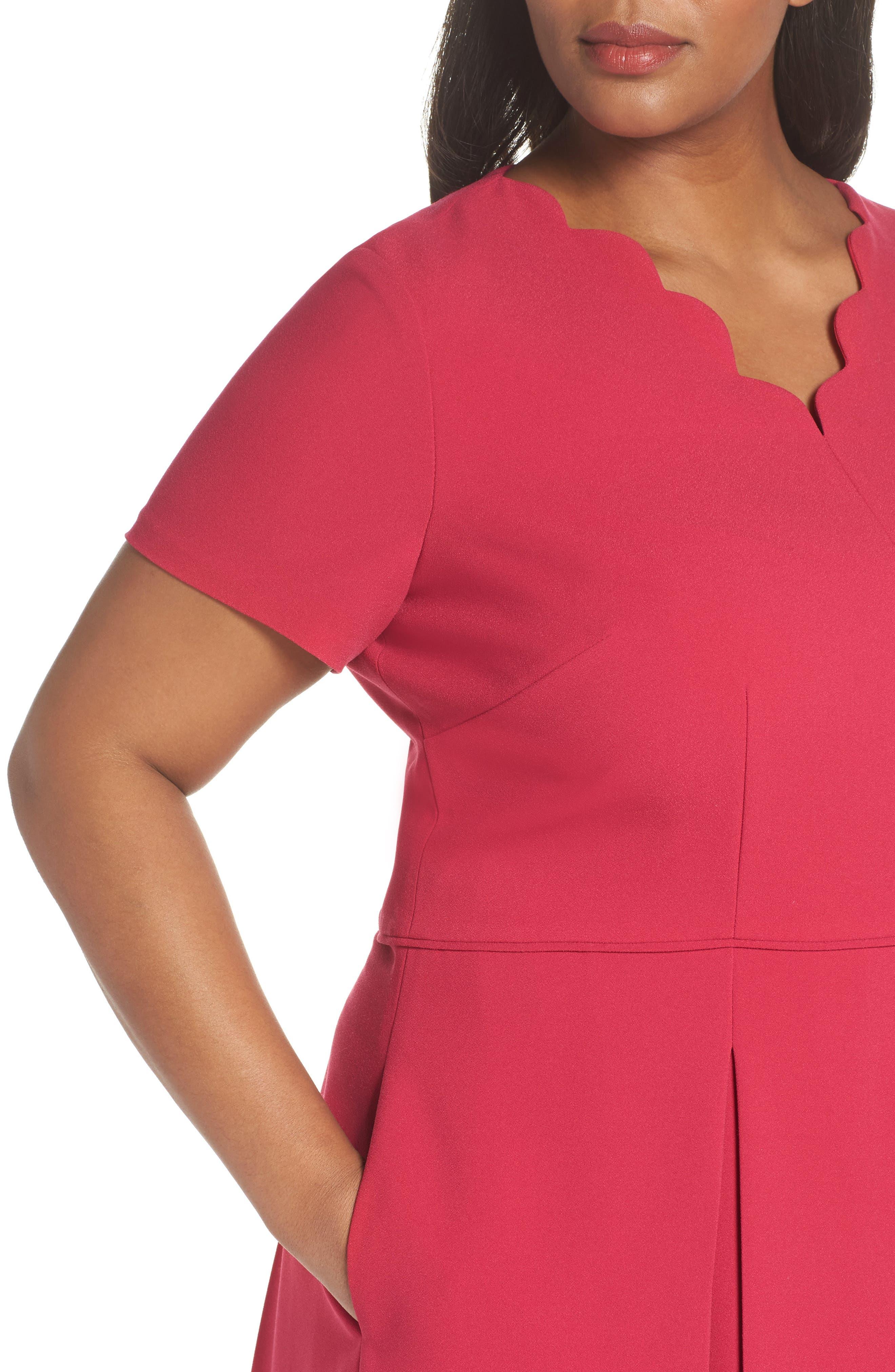 Scallop Neck A-Line Dress,                             Alternate thumbnail 4, color,                             677