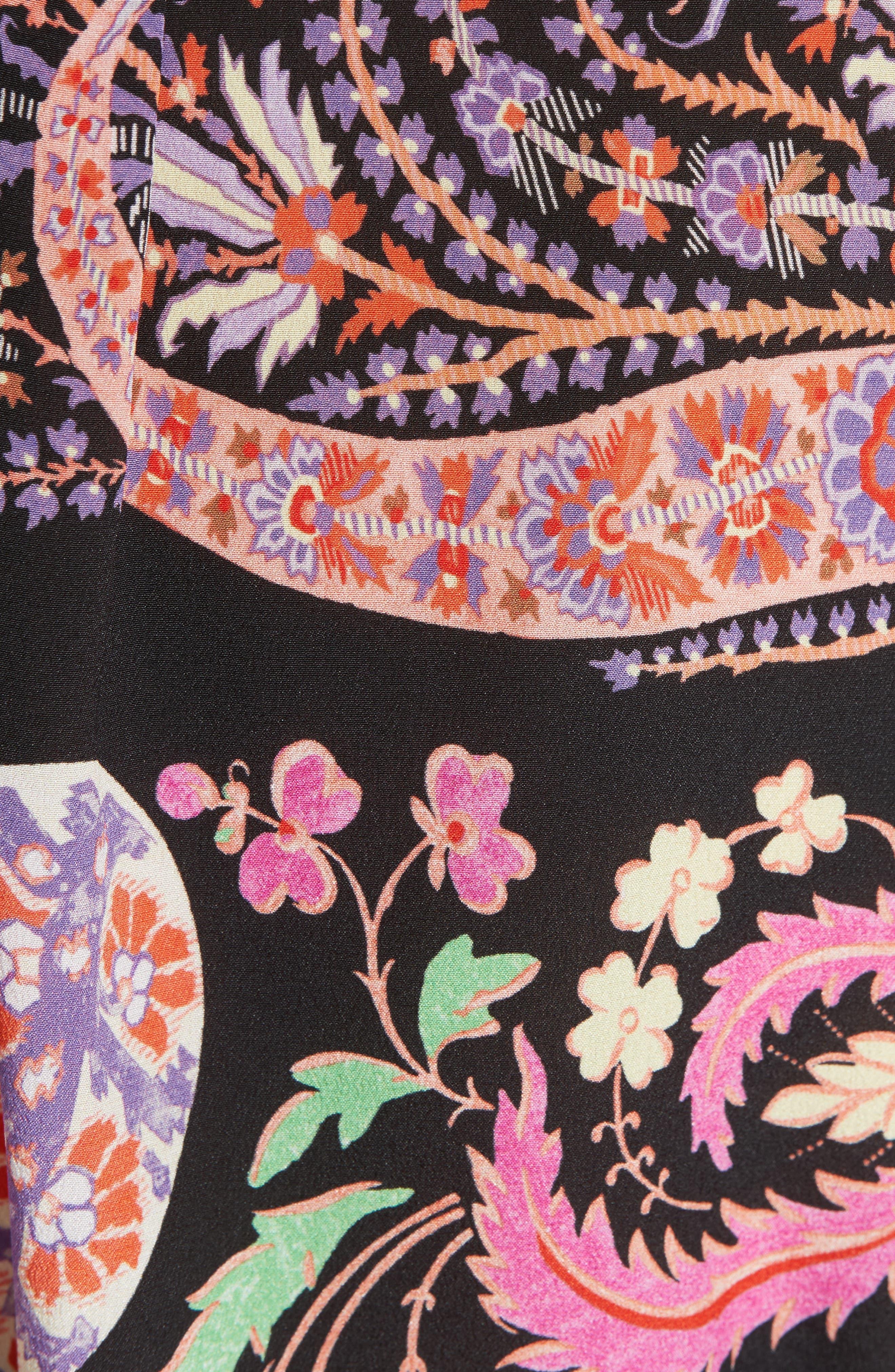 Floral Paisley Print Silk Tunic,                             Alternate thumbnail 5, color,                             001