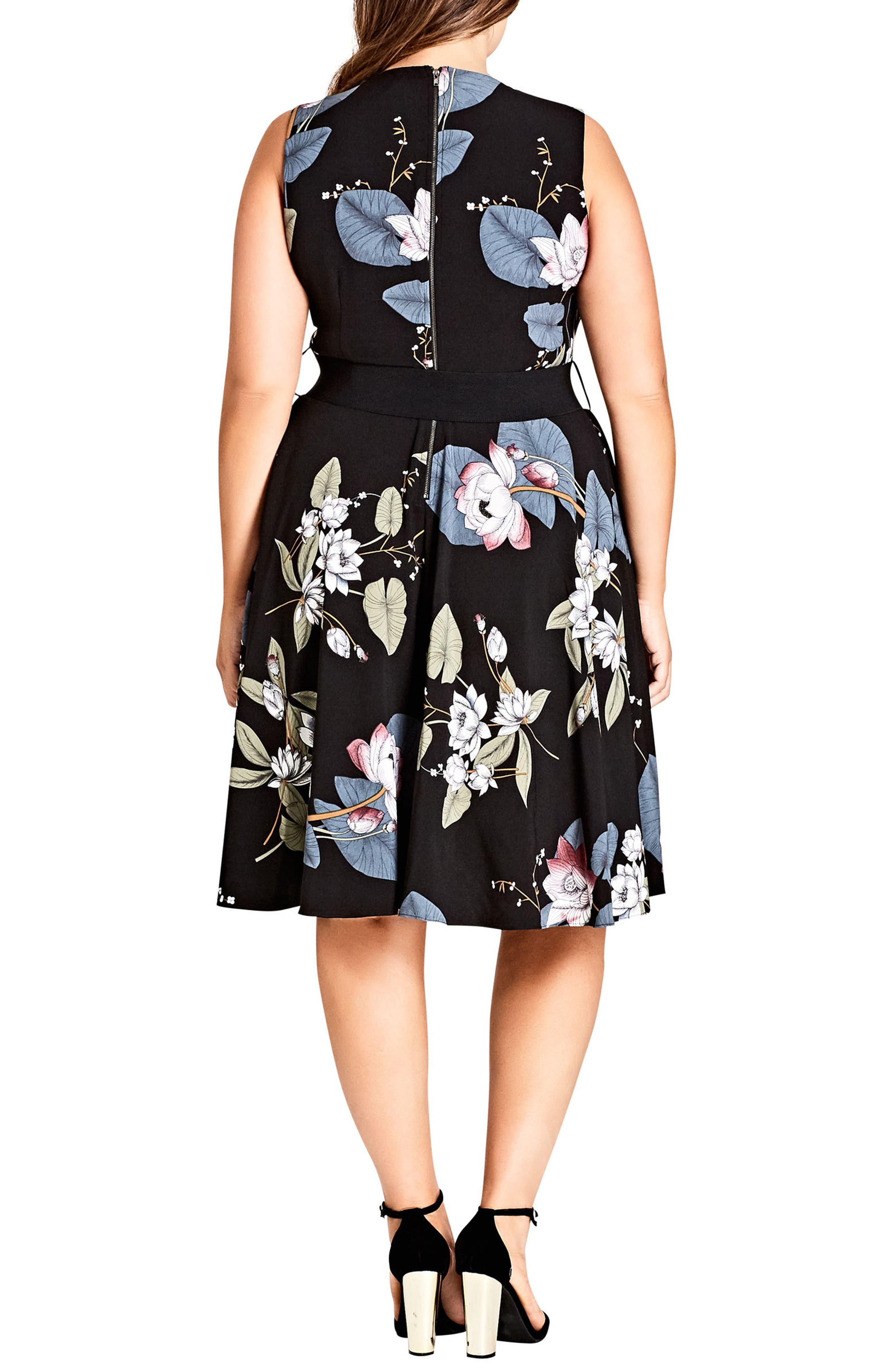 Blossom Fit & Flare Dress,                             Alternate thumbnail 2, color,                             ORIENTAL