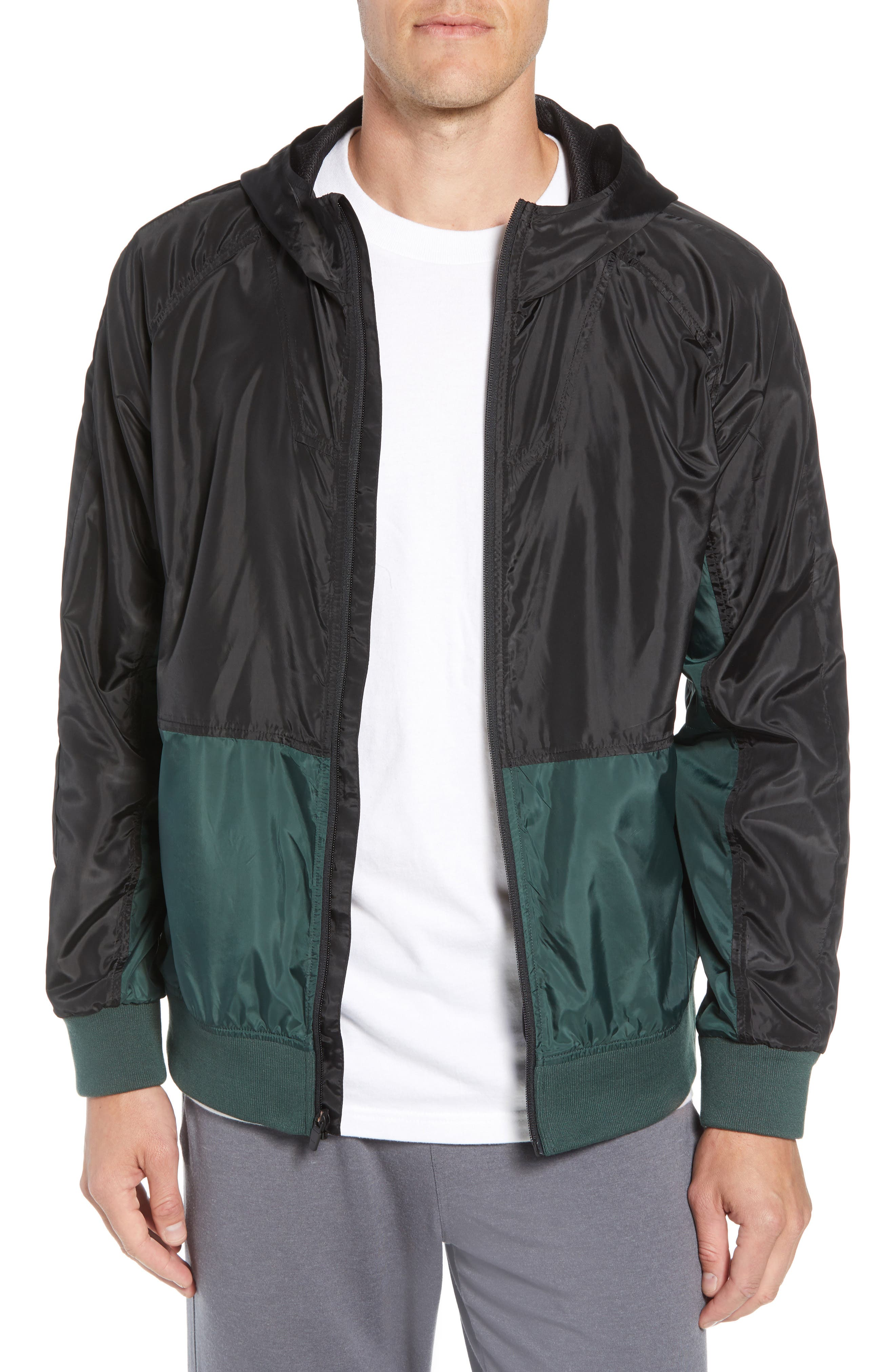 Colorblock Hooded Windbreaker Jacket,                             Main thumbnail 1, color,                             BLACK GREEN ODINITE
