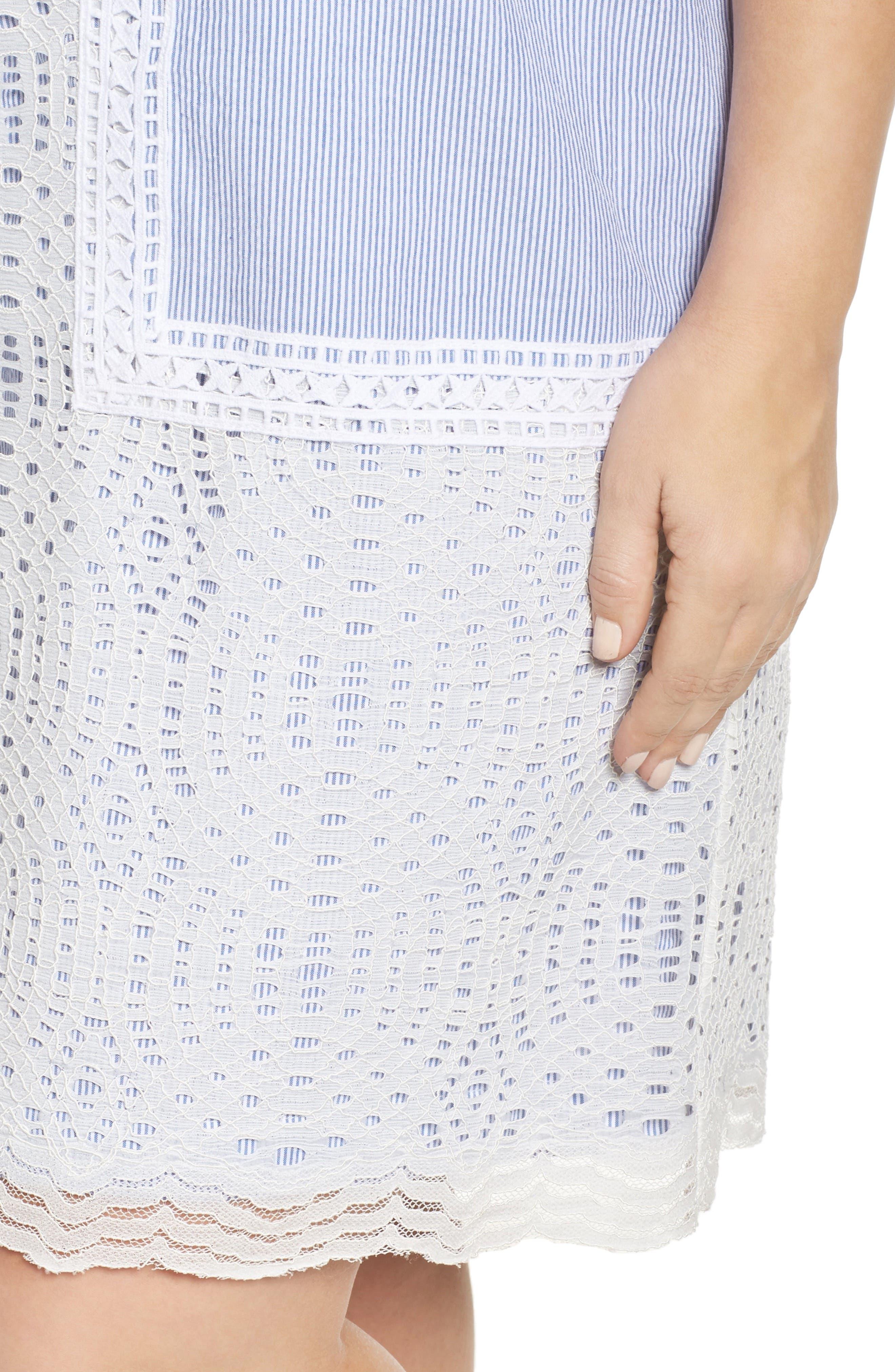 Lace Overlay Shift Dress,                             Alternate thumbnail 4, color,                             425