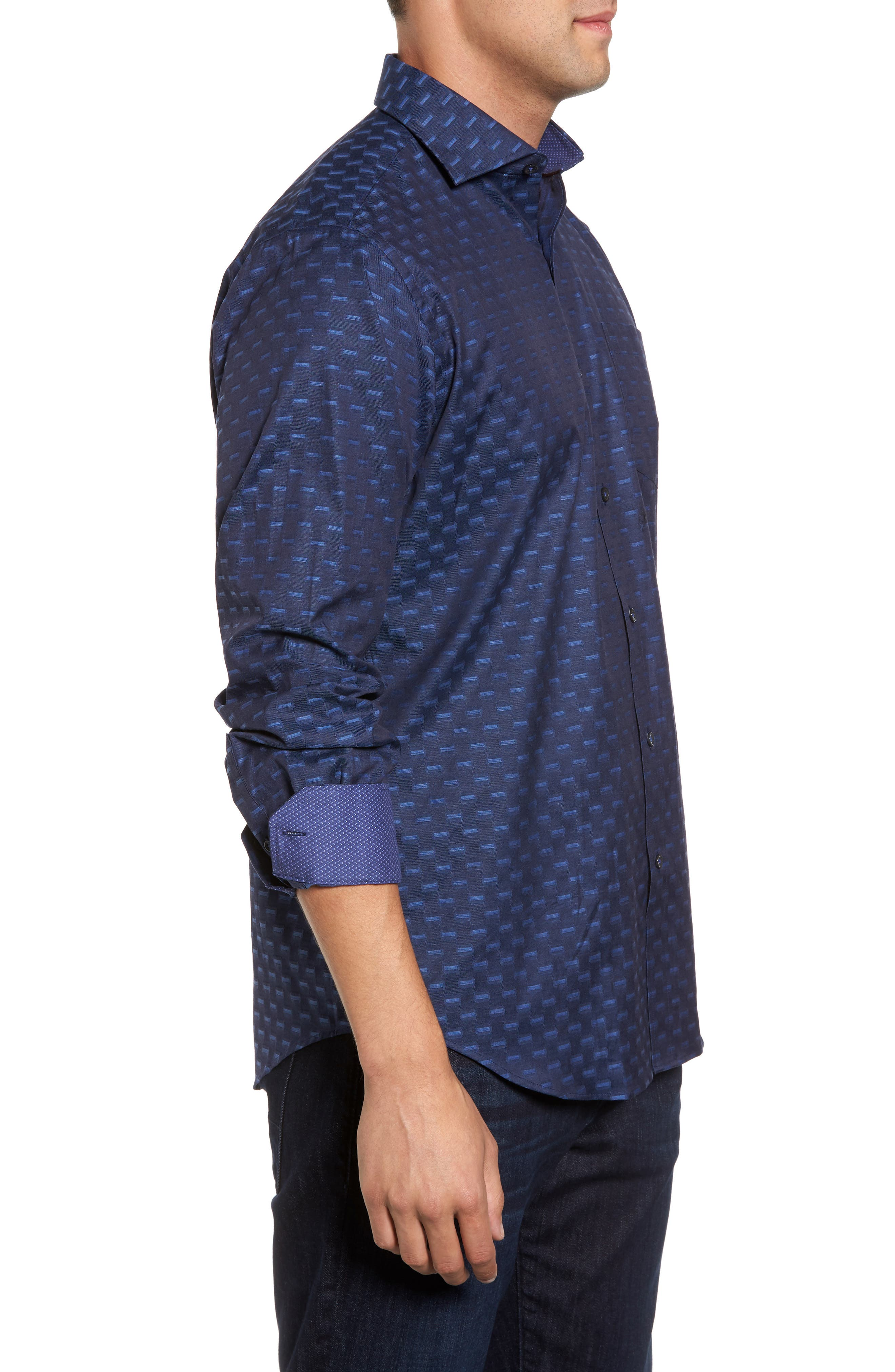 Classic Fit Jacquard Sport Shirt,                             Alternate thumbnail 3, color,                             410