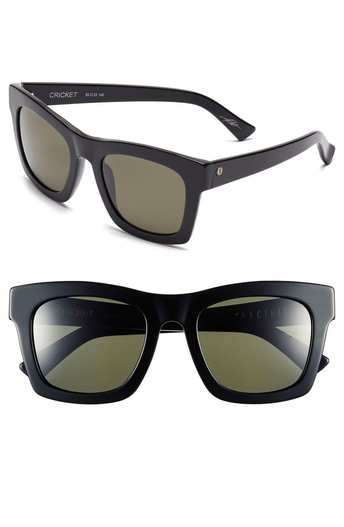 'Crasher' 54mm Retro Sunglasses,                         Main,                         color, GLOSS BLACK/ GREY