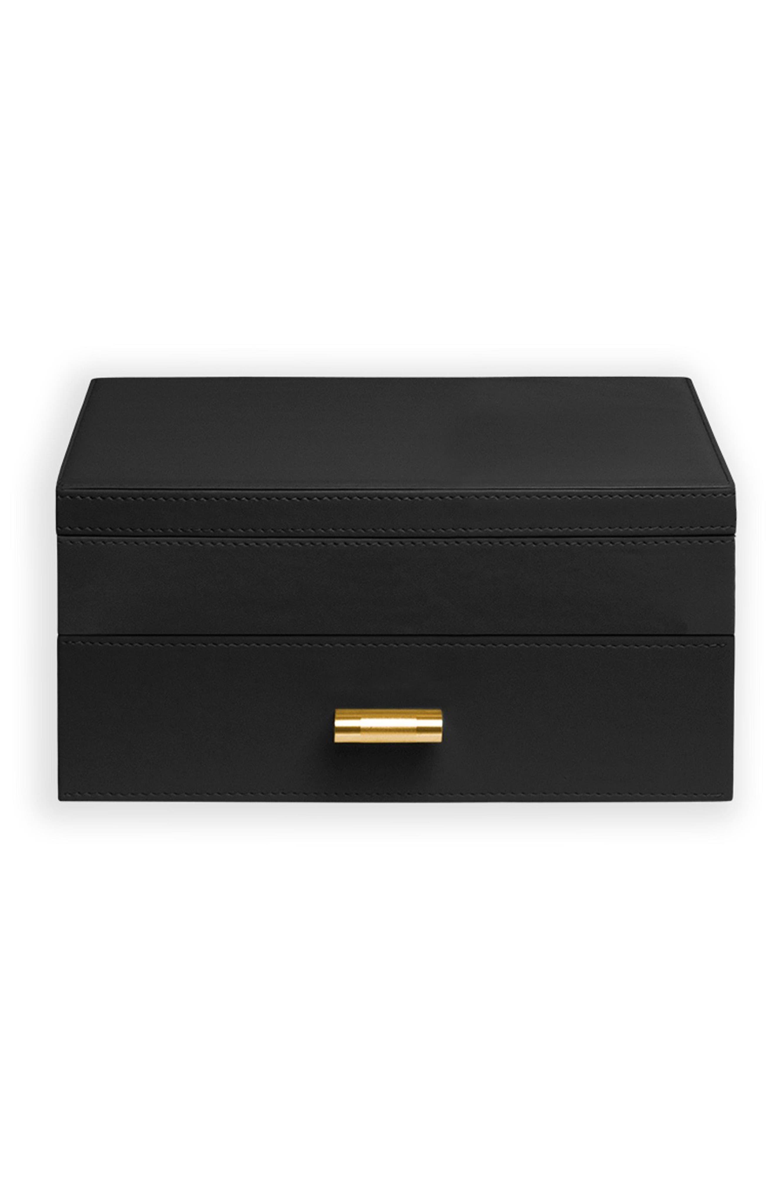 Medium Jewelry Box,                             Main thumbnail 1, color,                             BLACK/ IVORY
