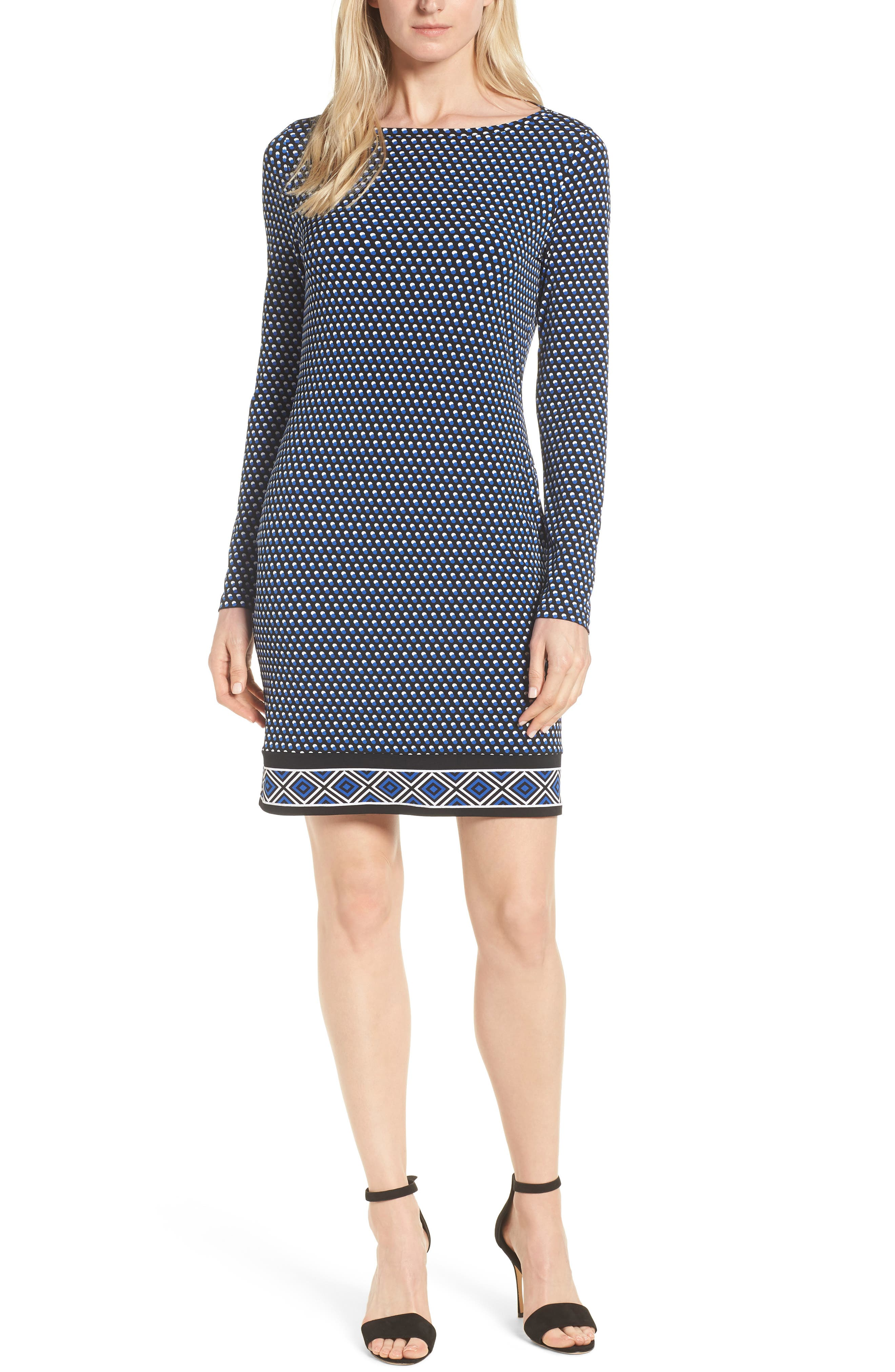 Michael Michael Kors Alston Boatneck Contrast Border Print Dress, Blue