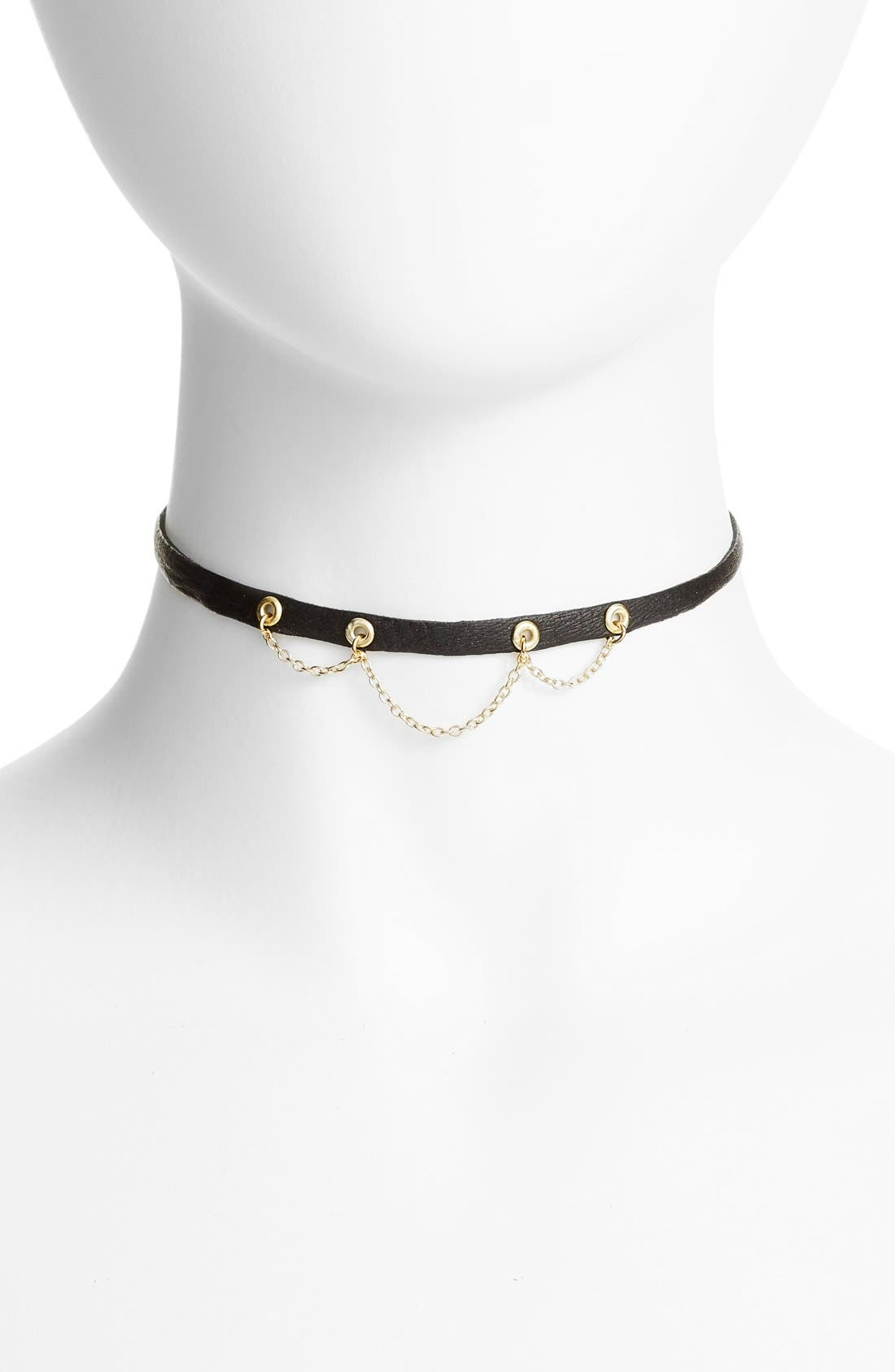 Leather & Chain Choker,                         Main,                         color, 001