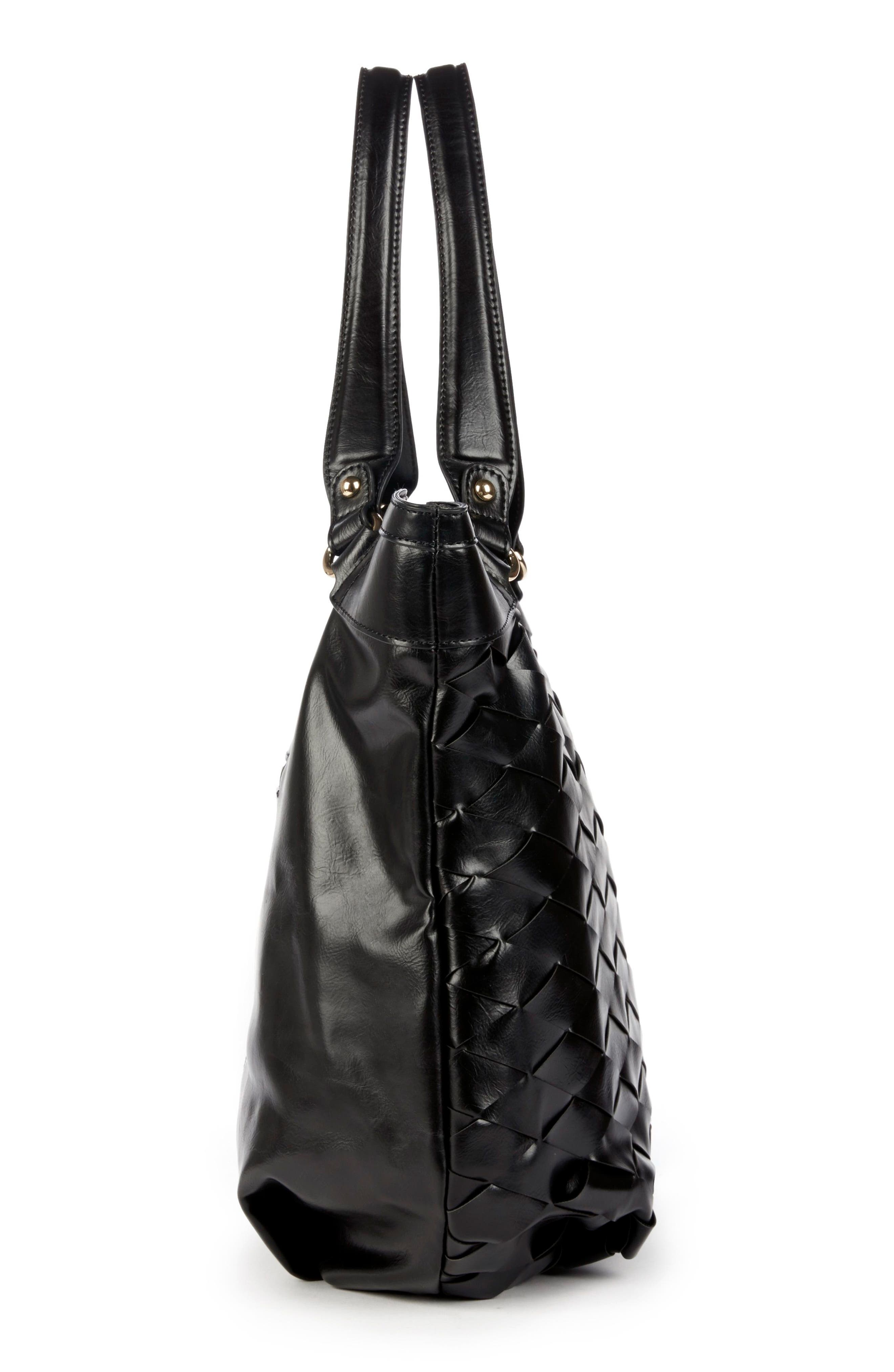 Adrina Faux Leather Tote,                             Alternate thumbnail 4, color,                             BLACK