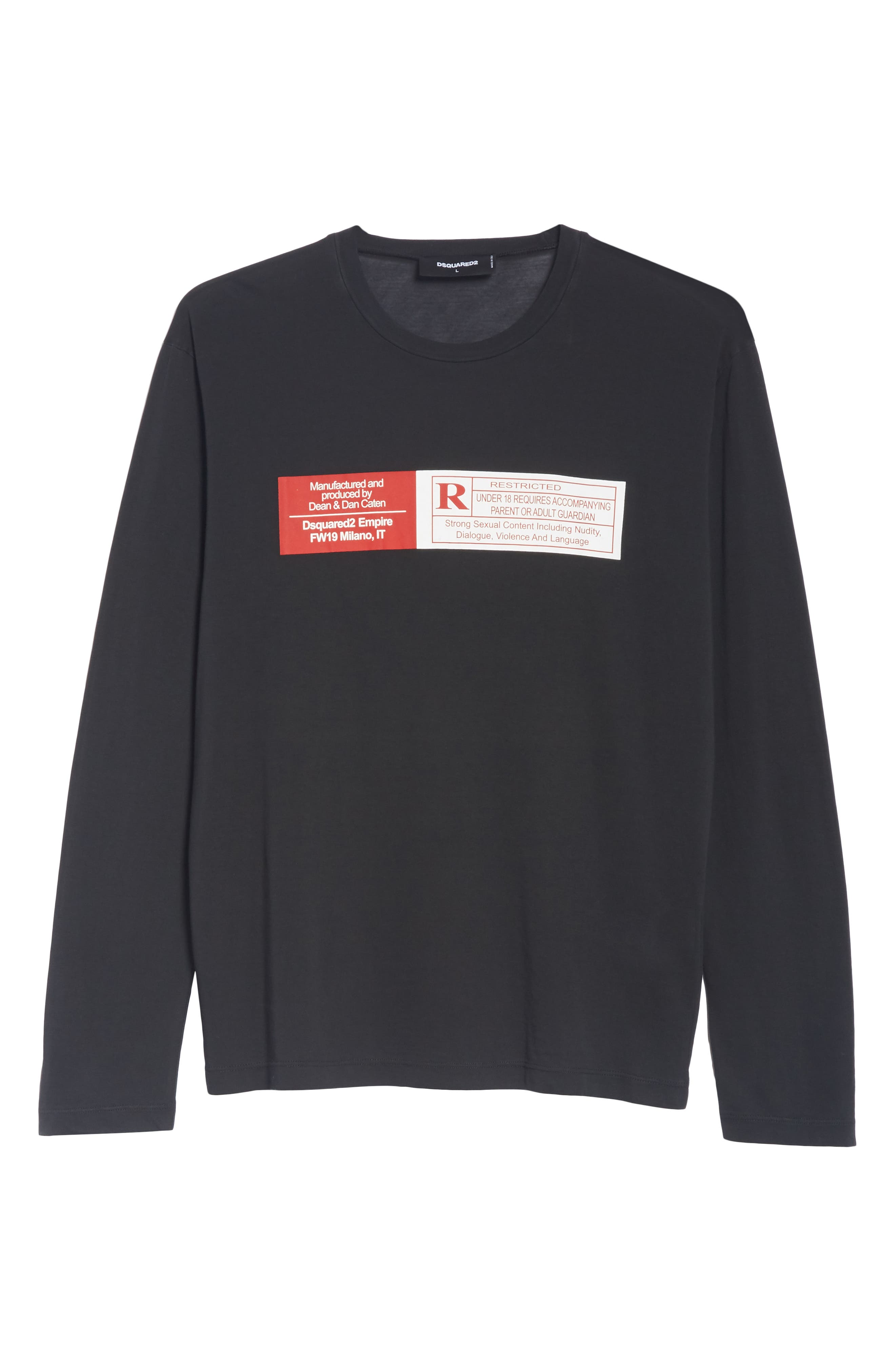 Rated R Graphic Long Sleeve T-Shirt,                             Alternate thumbnail 6, color,                             001