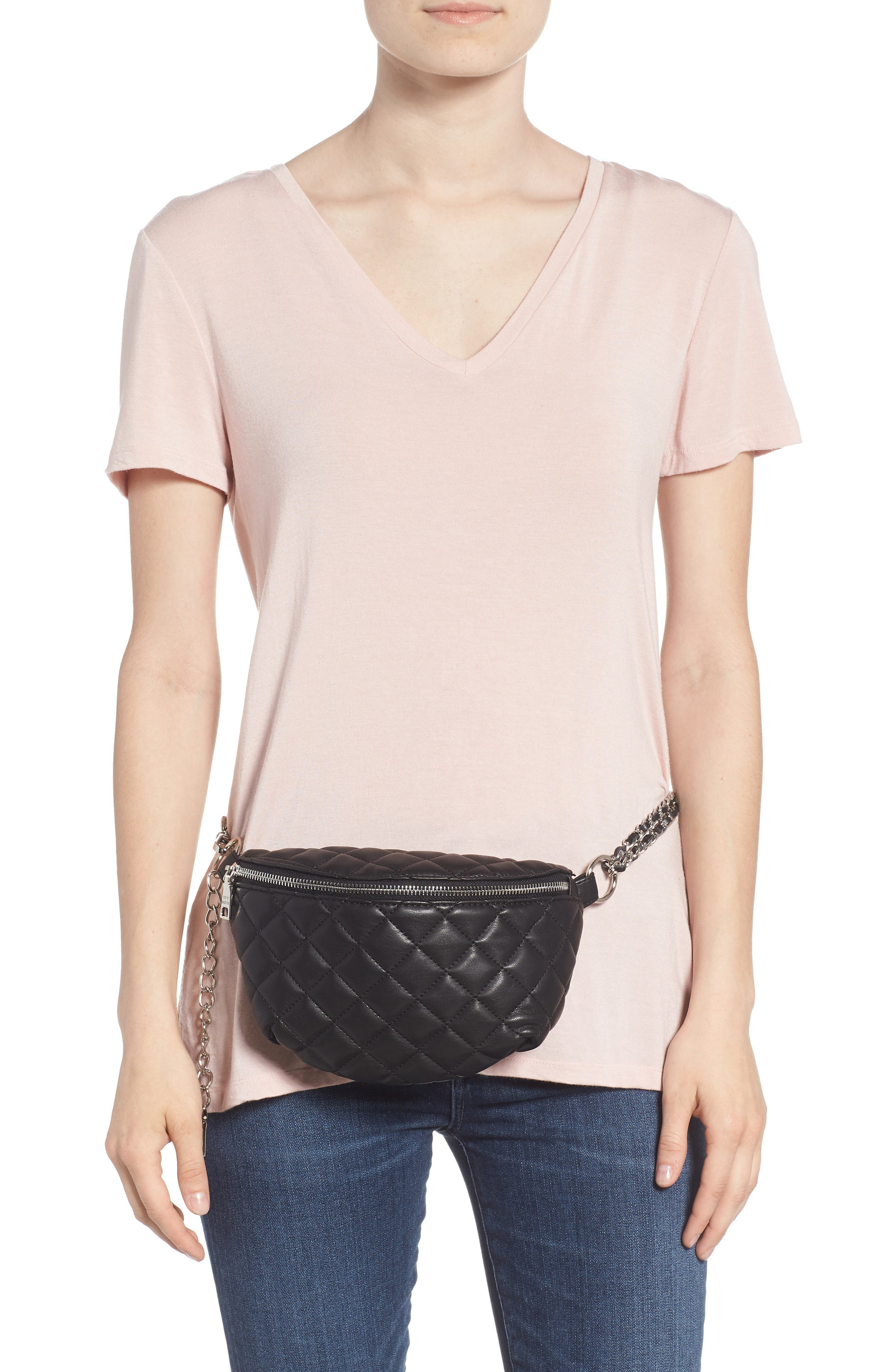 Quilted Faux Leather Fanny Pack,                             Alternate thumbnail 3, color,                             BLACK