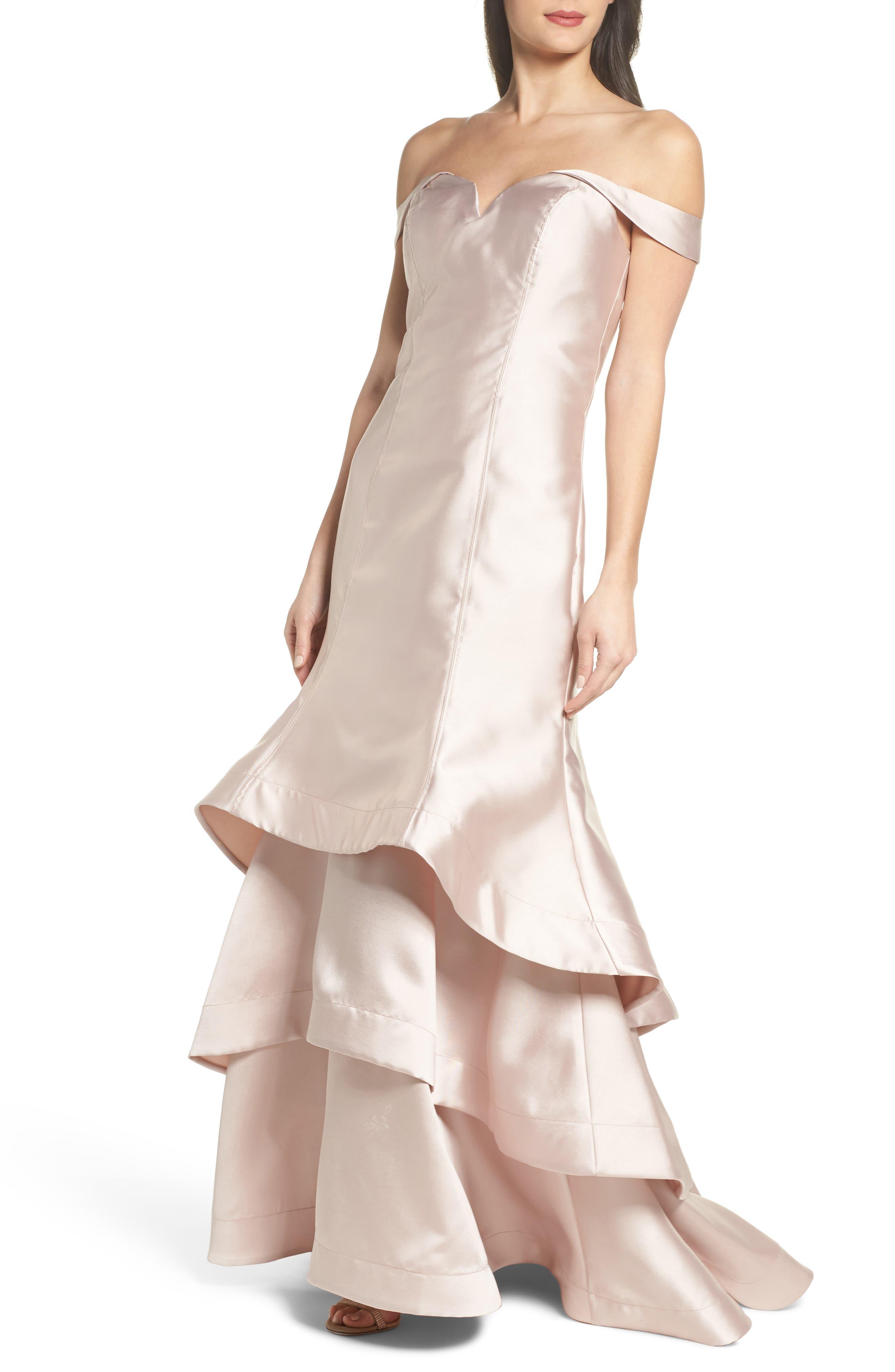 Ruffle Hem Off the Shoulder Mermaid Gown,                         Main,                         color, 741