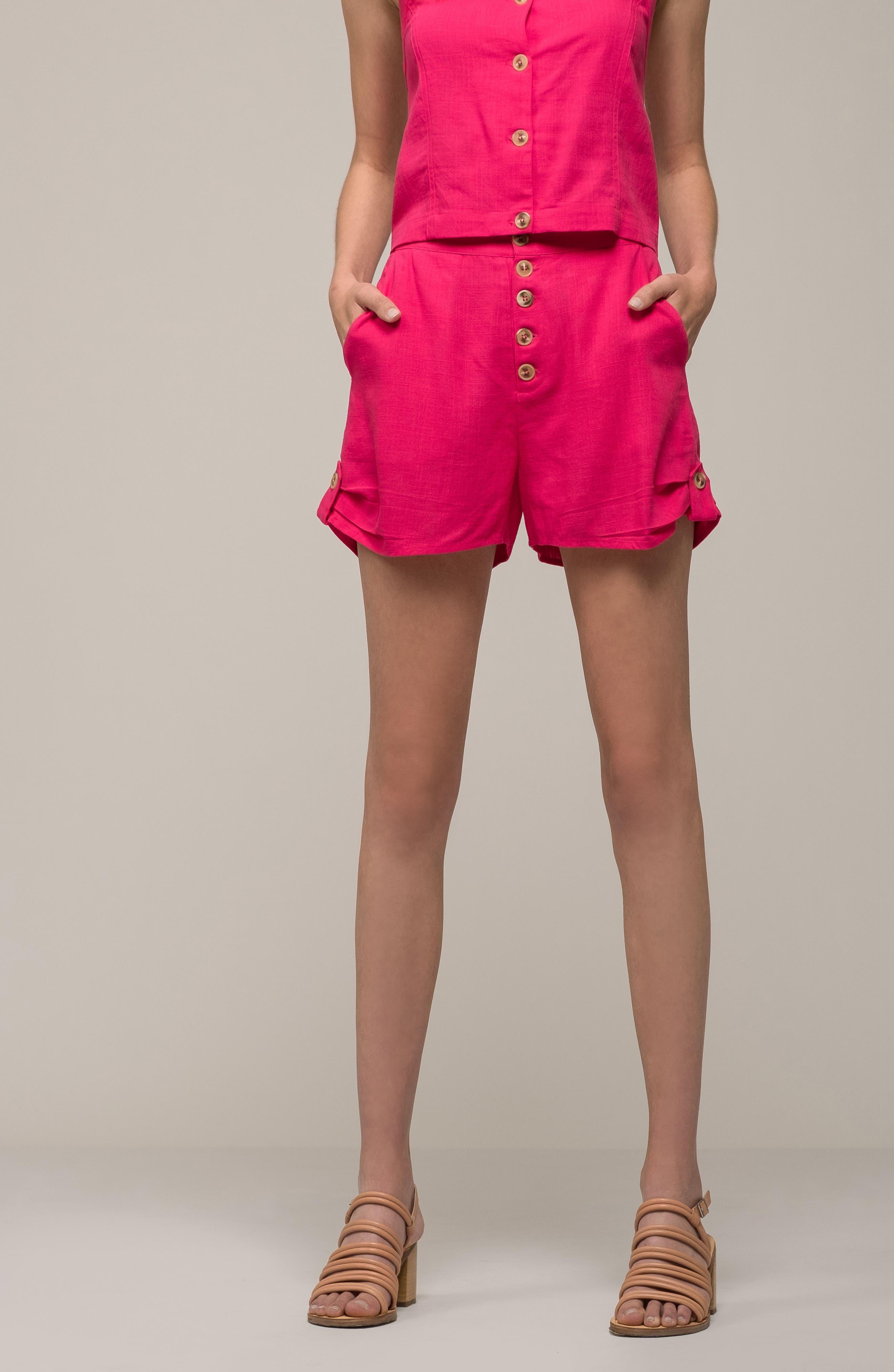 Button Front Linen & Cotton Shorts,                             Alternate thumbnail 7, color,                             650