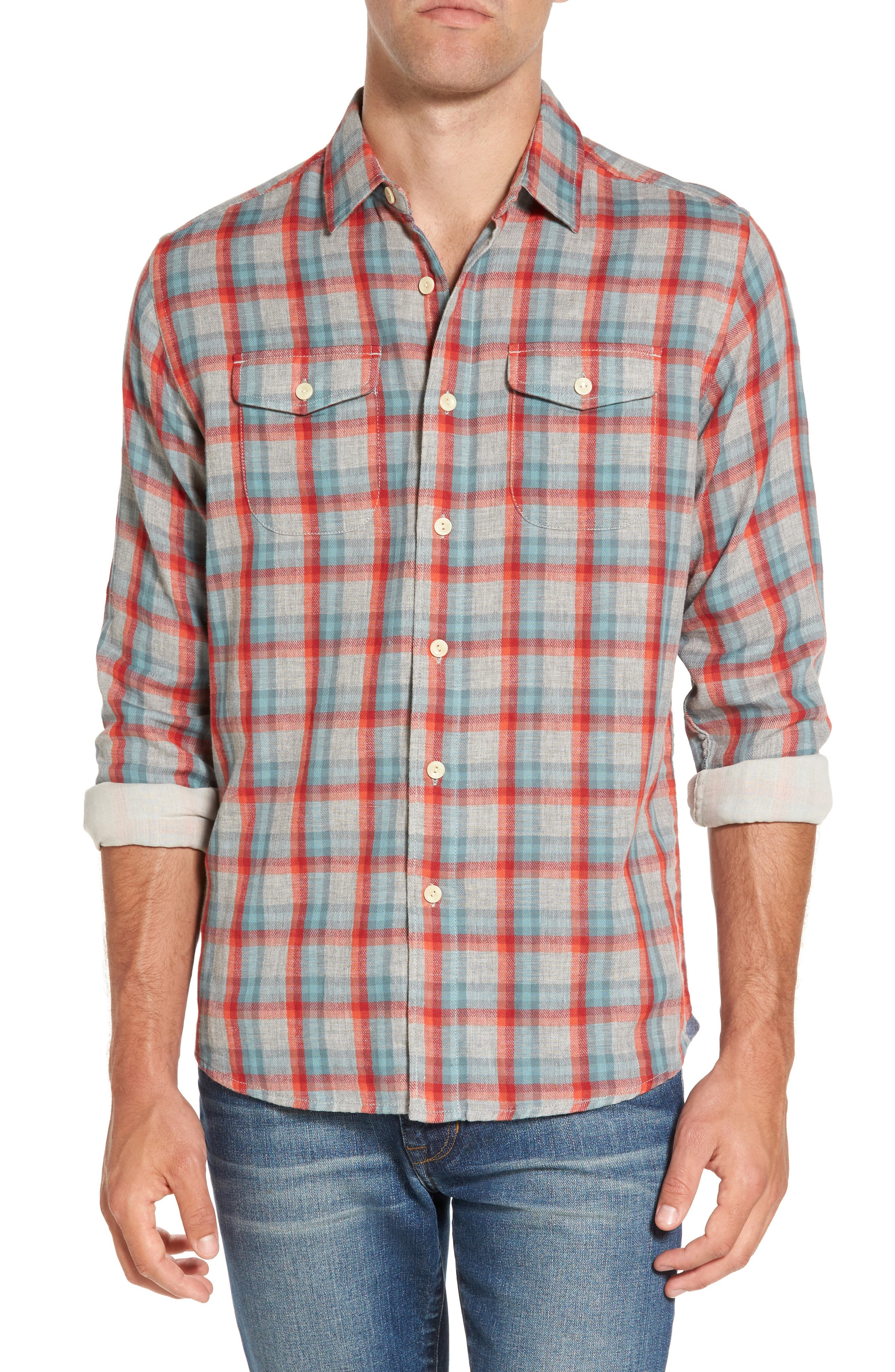 Sherman Modern Fit Double Cloth Windowpane Sport Shirt,                         Main,                         color, 640
