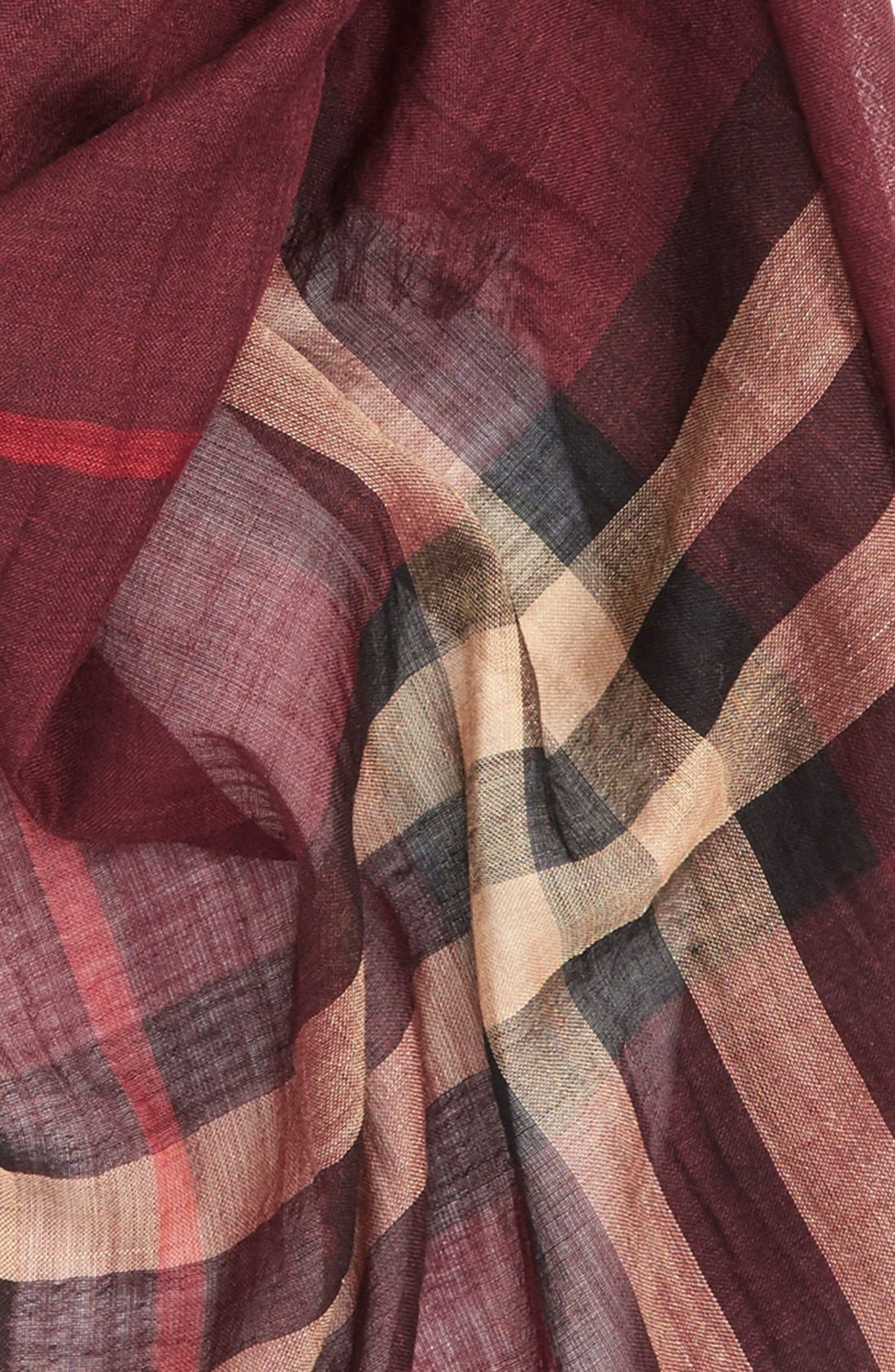 Giant Check Print Wool & Silk Scarf,                             Alternate thumbnail 119, color,