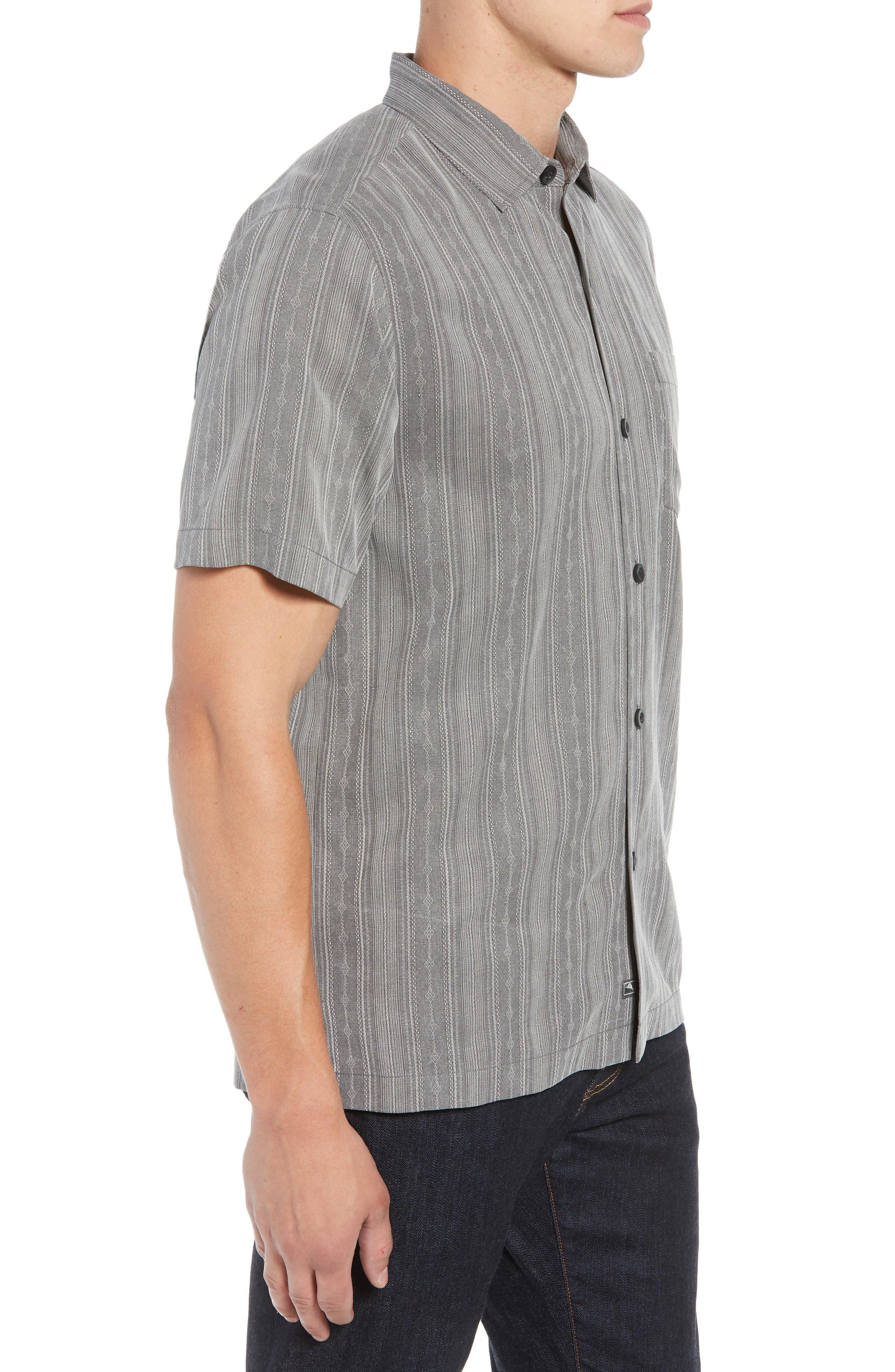 San Ramone Regular Fit Stripe Silk Shirt,                             Alternate thumbnail 3, color,                             CAVE