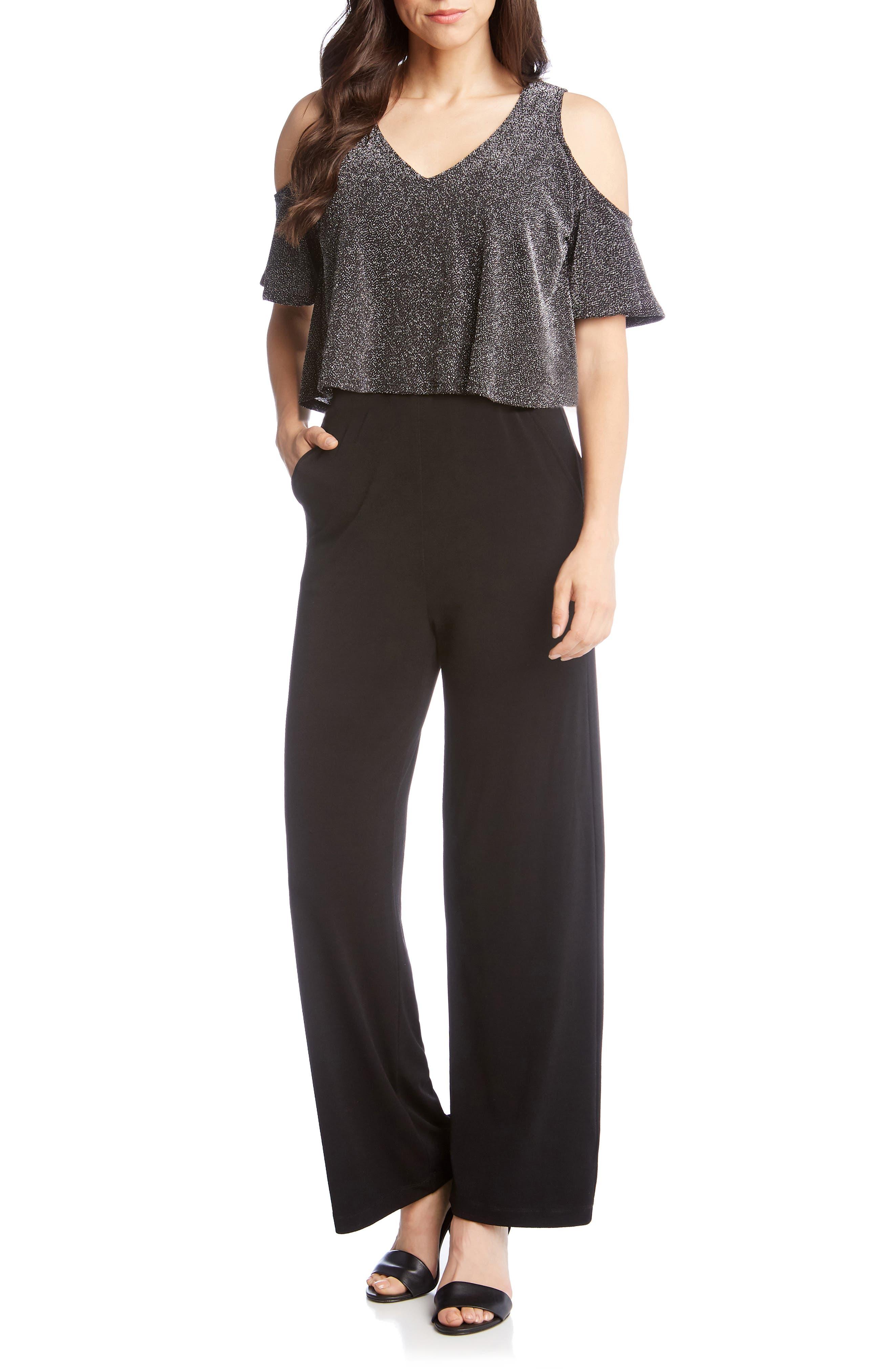 KAREN KANE Cold-Shoulder Sparkle-Knit Jumpsuit in Black