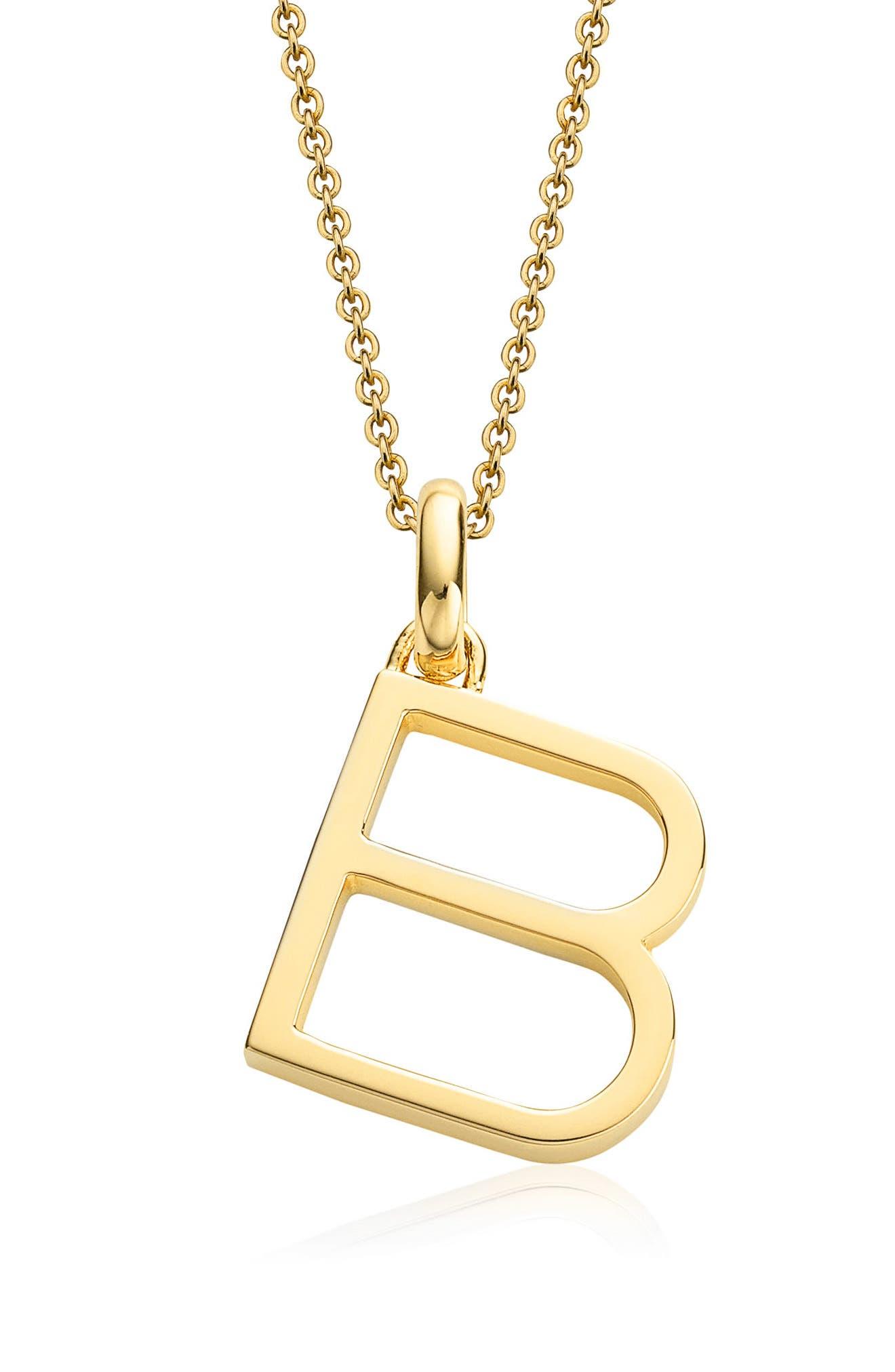 Alphabet Pendant,                             Main thumbnail 1, color,                             Gold- B