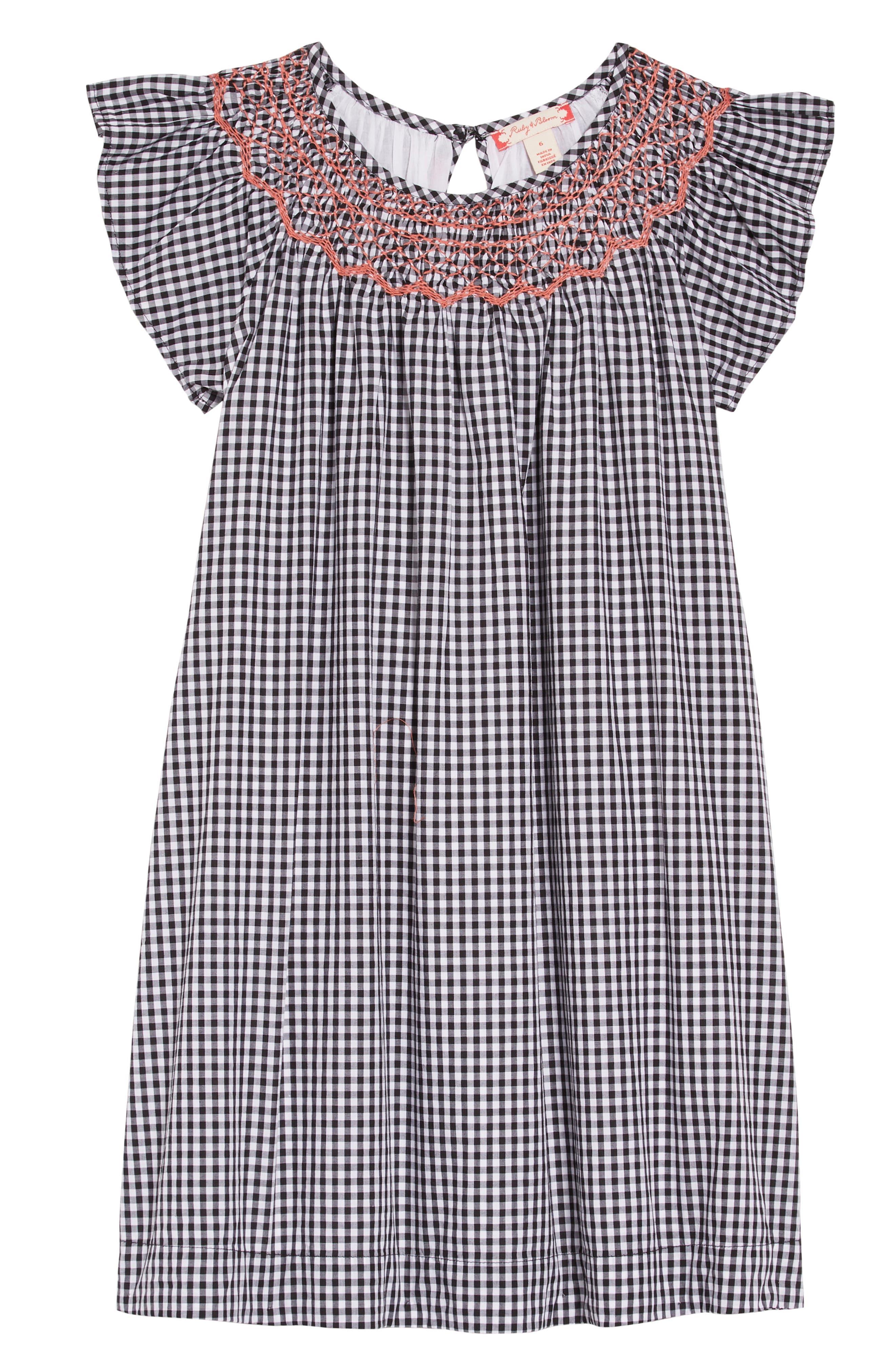 Gingham Smocked Dress,                             Main thumbnail 1, color,                             WHITE- BLACK GINGHAM