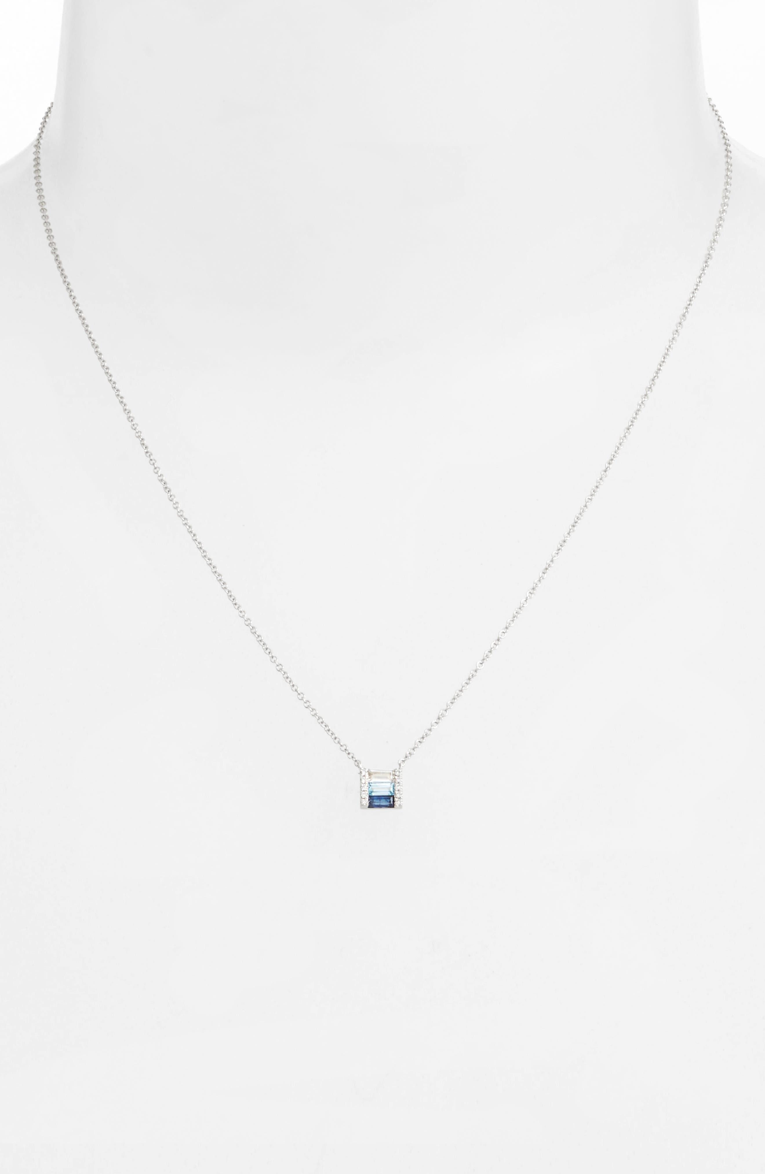 Fade Brick Diamond & Stone Pendant Necklace,                             Alternate thumbnail 2, color,                             WHITE GOLD