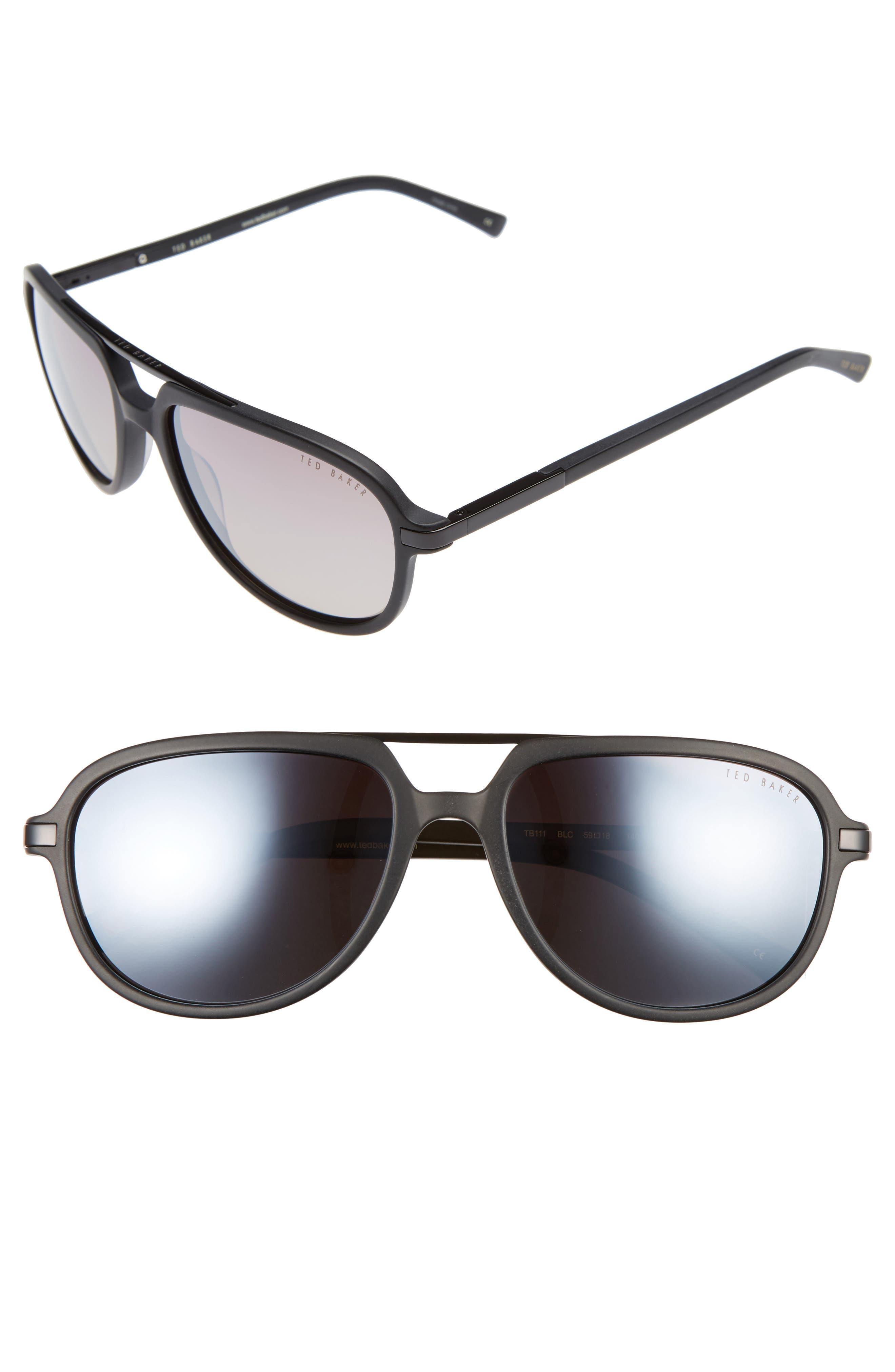 59mm Polarized Aviator Sunglasses,                         Main,                         color, 001