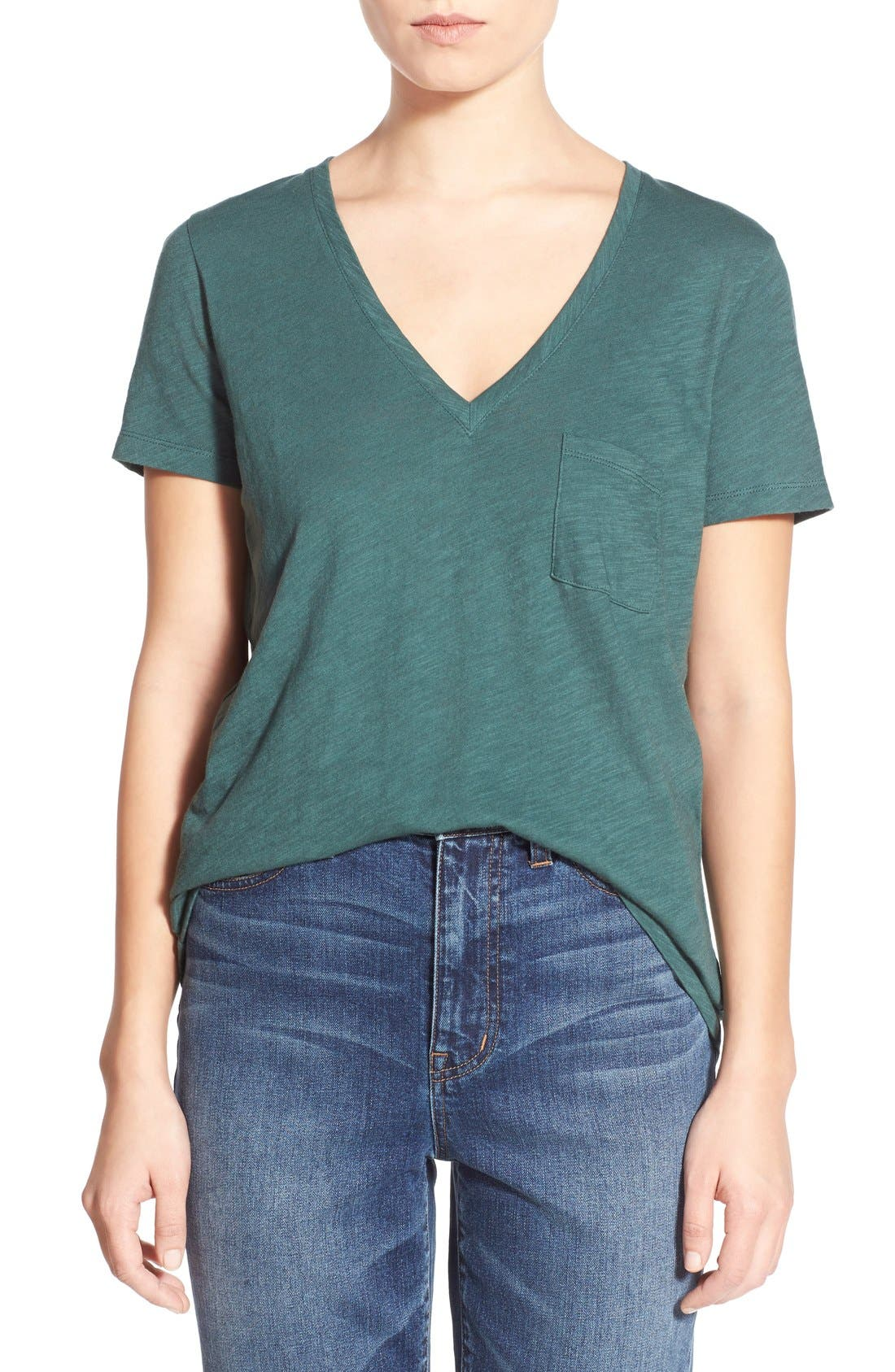 Whisper Cotton V-Neck Pocket Tee,                             Main thumbnail 17, color,