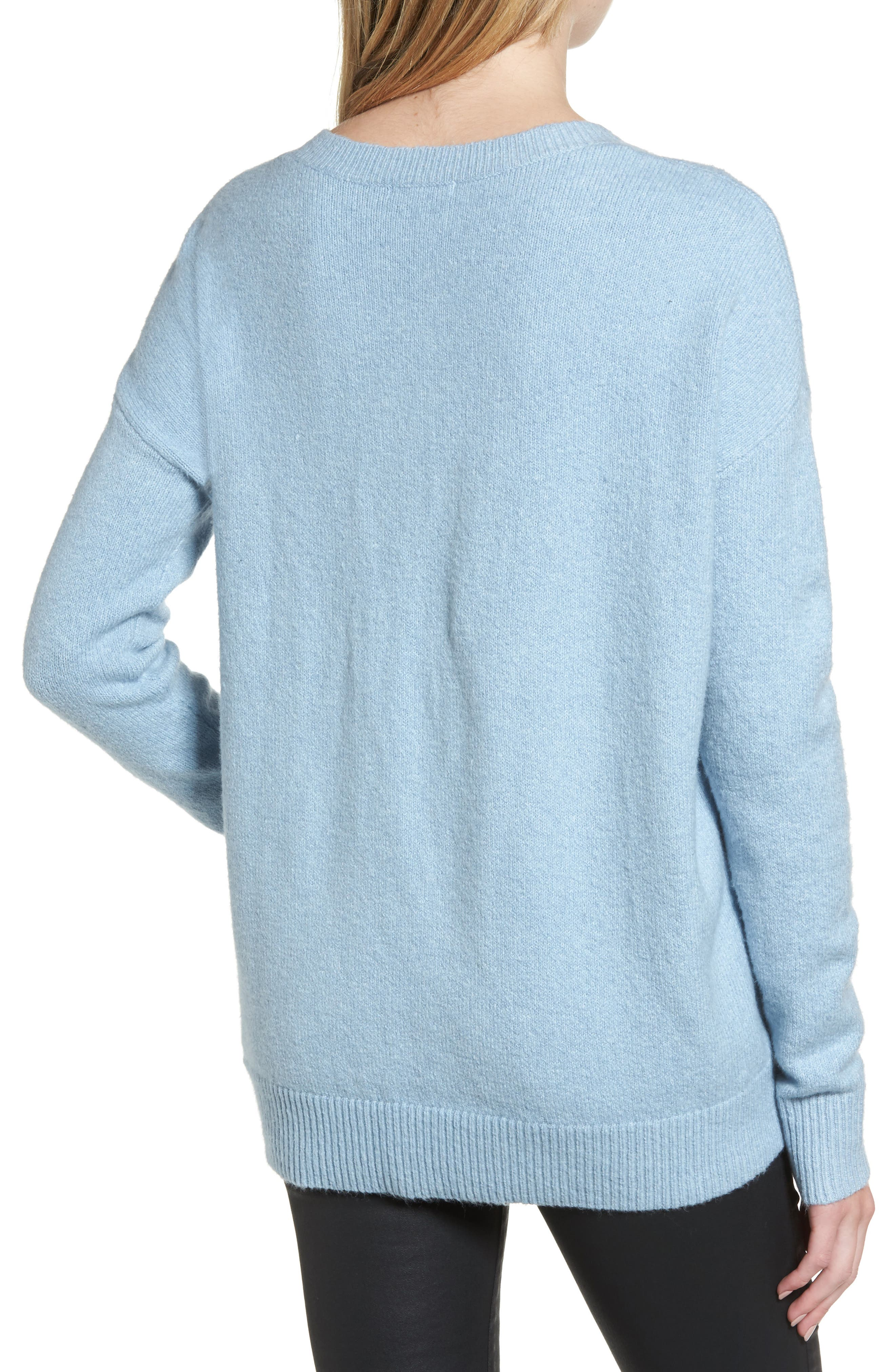 V-Neck High/Low Sweater,                             Alternate thumbnail 5, color,