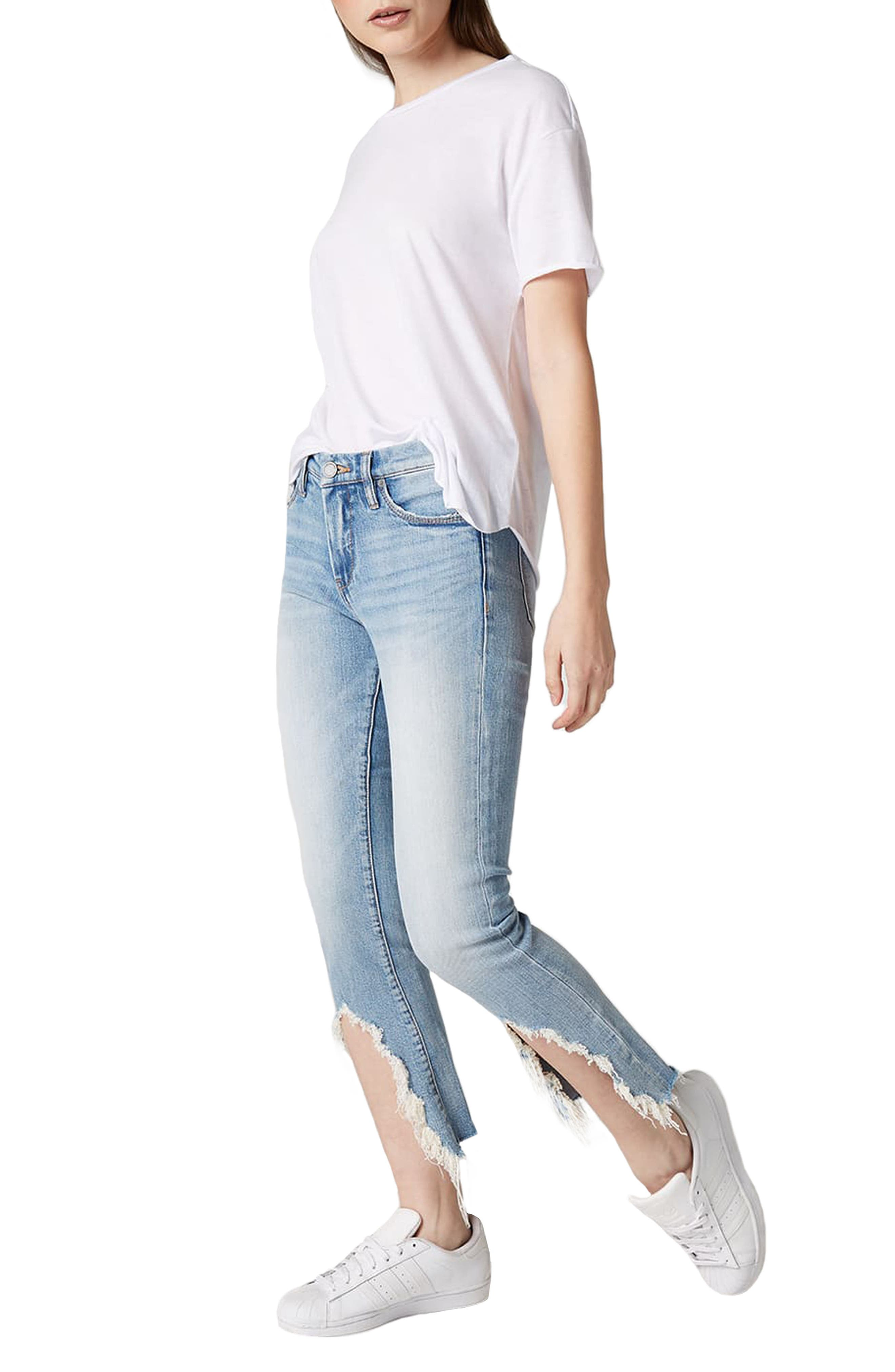 Constant Convo Distressed Hem Jeans,                             Alternate thumbnail 4, color,                             400