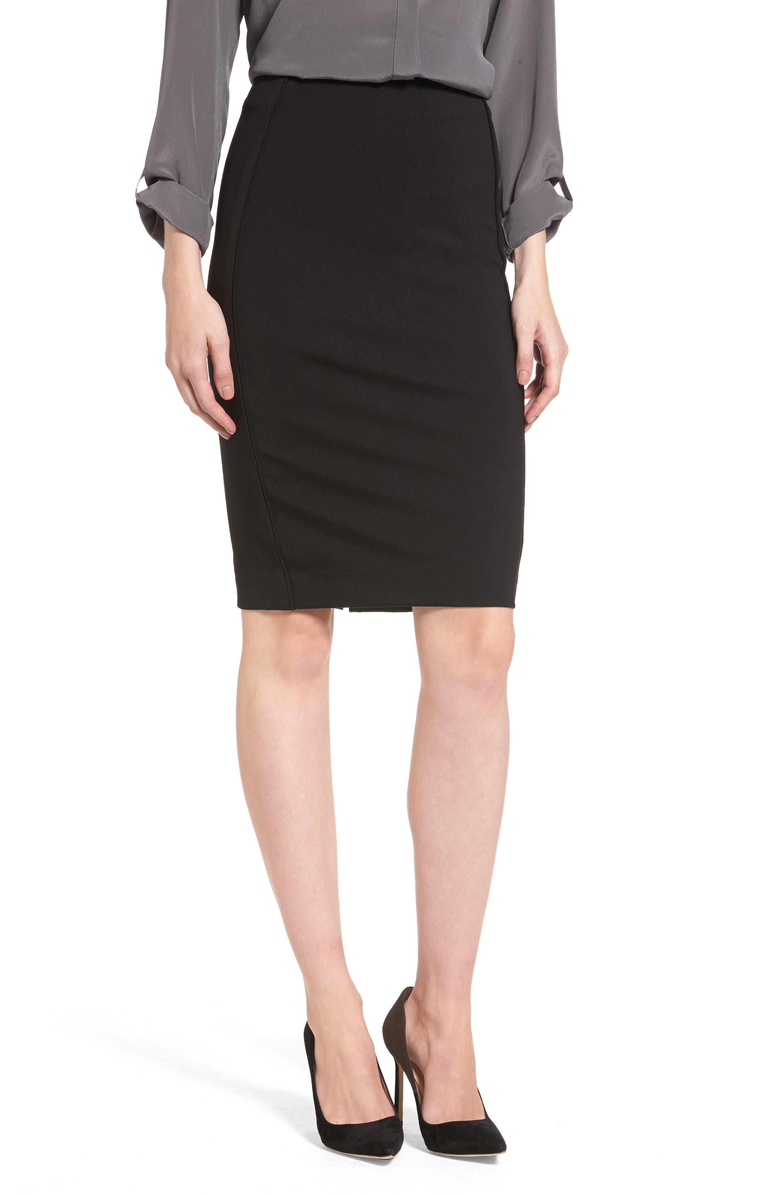 Ponte Pencil Skirt,                         Main,                         color, 002
