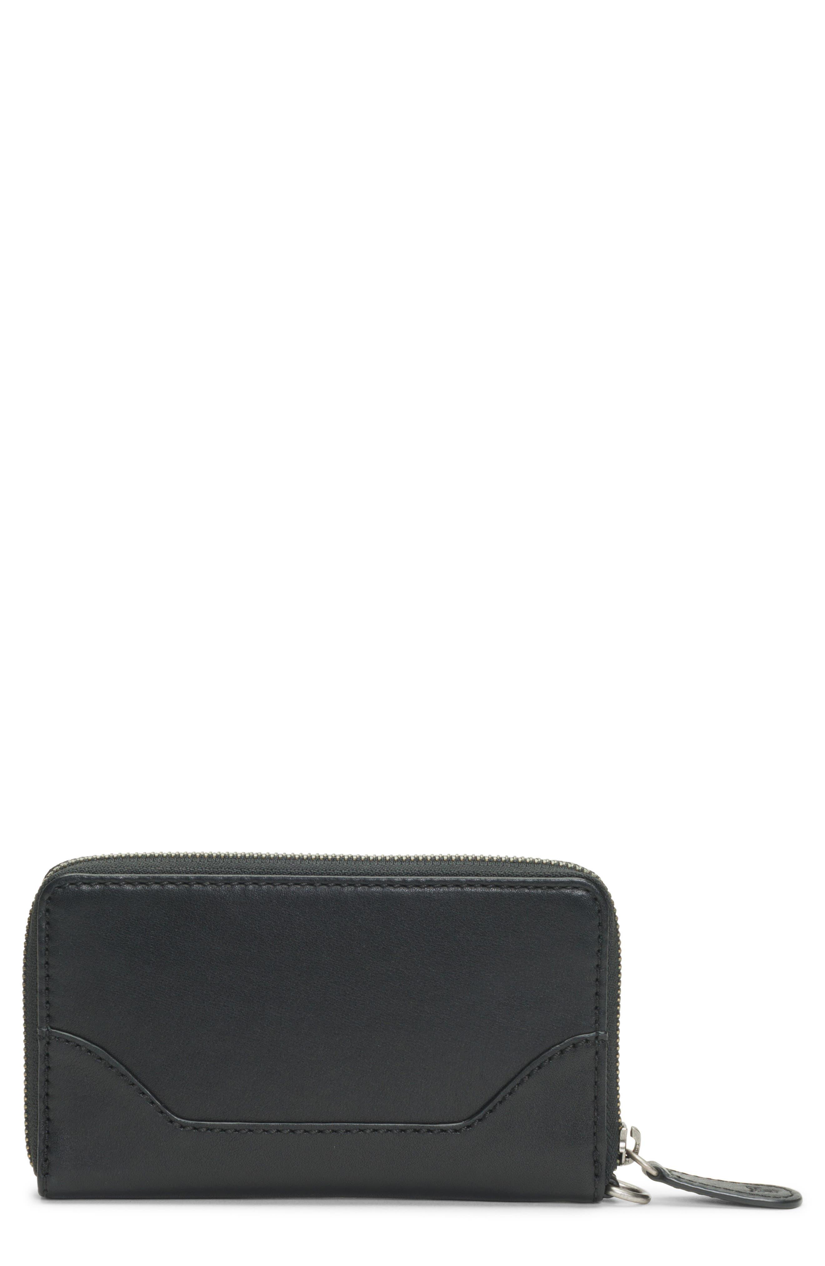 Melissa Leather Phone Wallet,                             Main thumbnail 1, color,                             BLACK