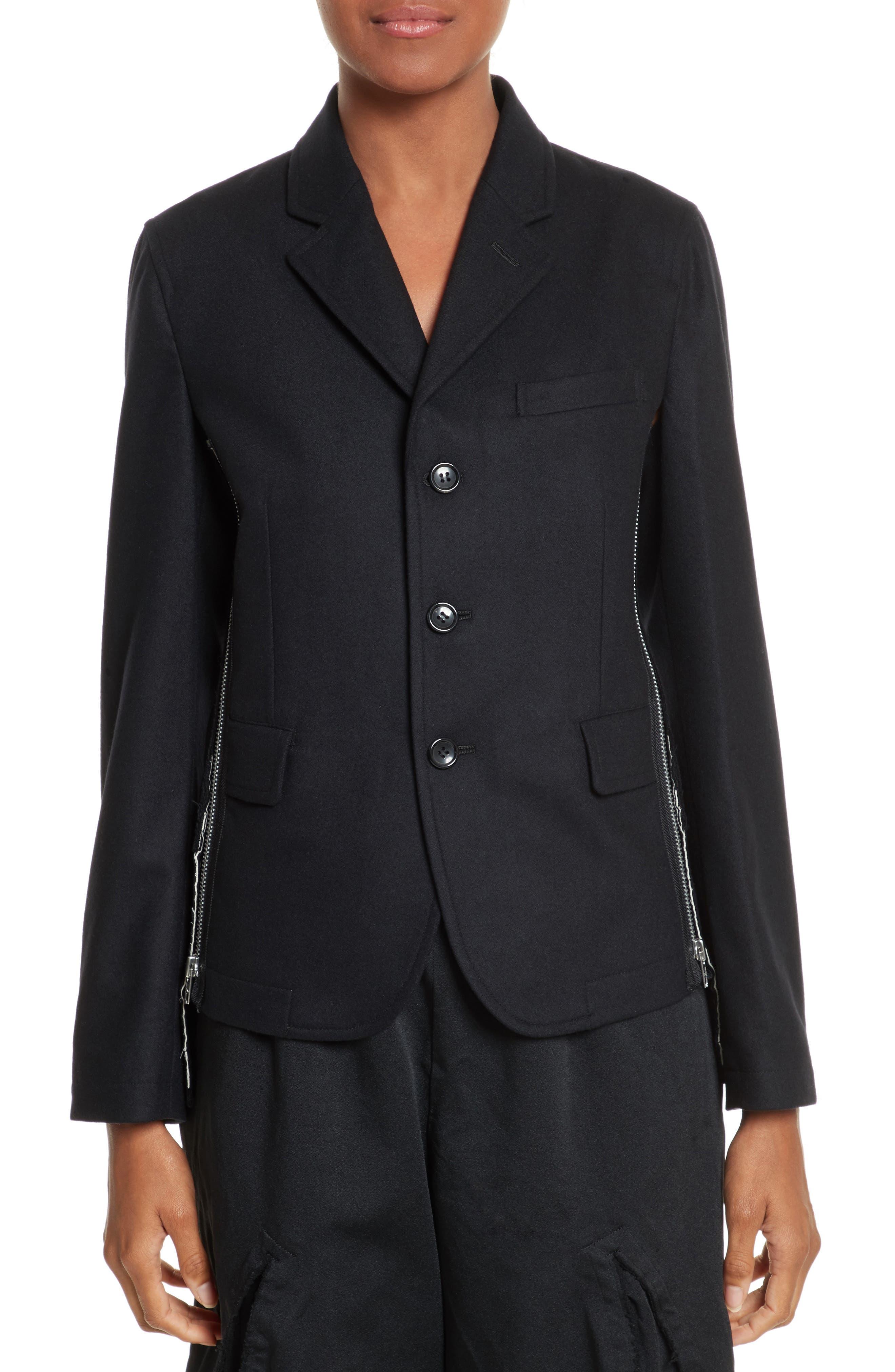 Zip Detail Wool Jacket,                             Main thumbnail 1, color,