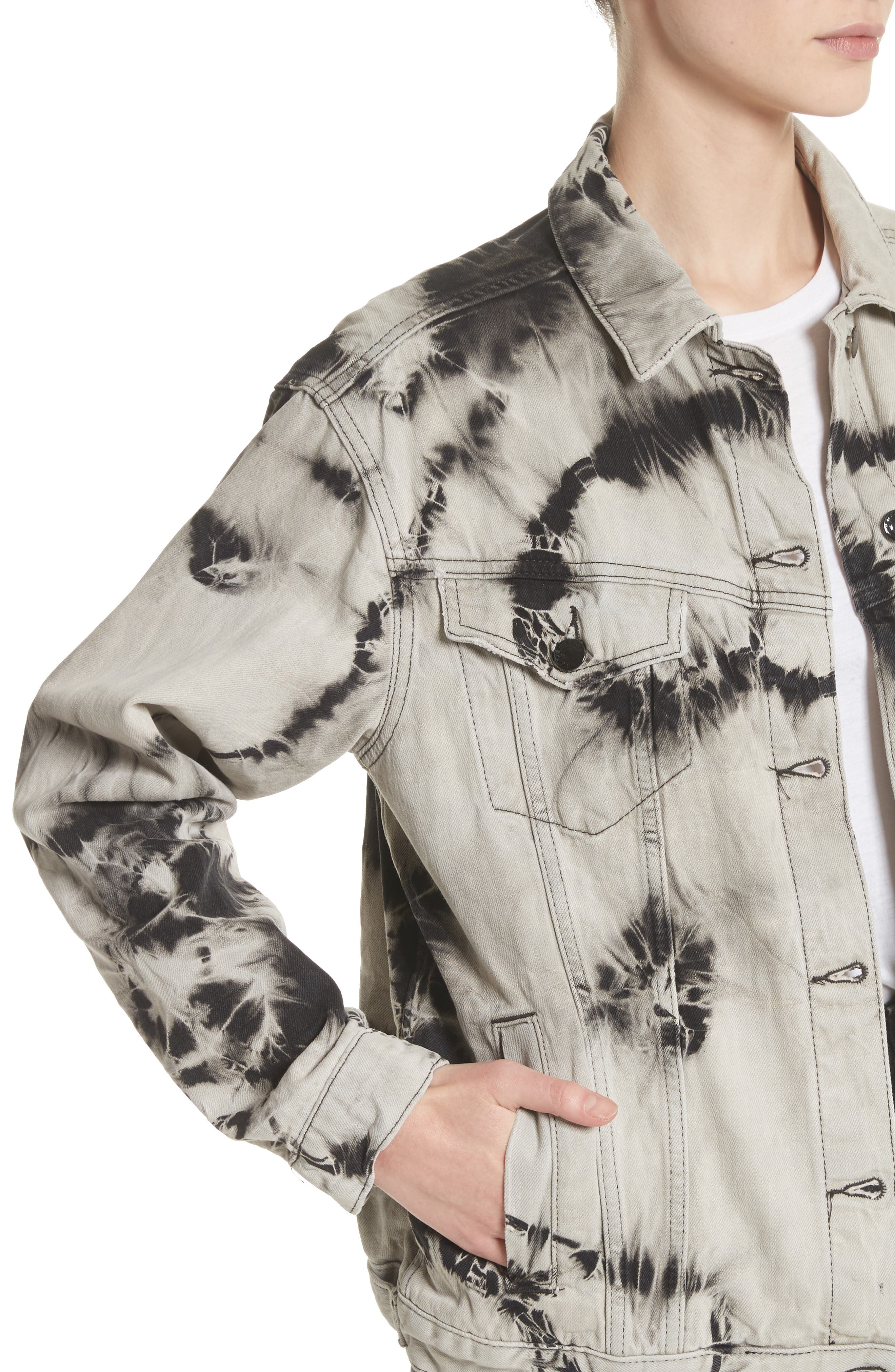 Western Tie Dye Denim Jacket,                             Alternate thumbnail 4, color,                             001
