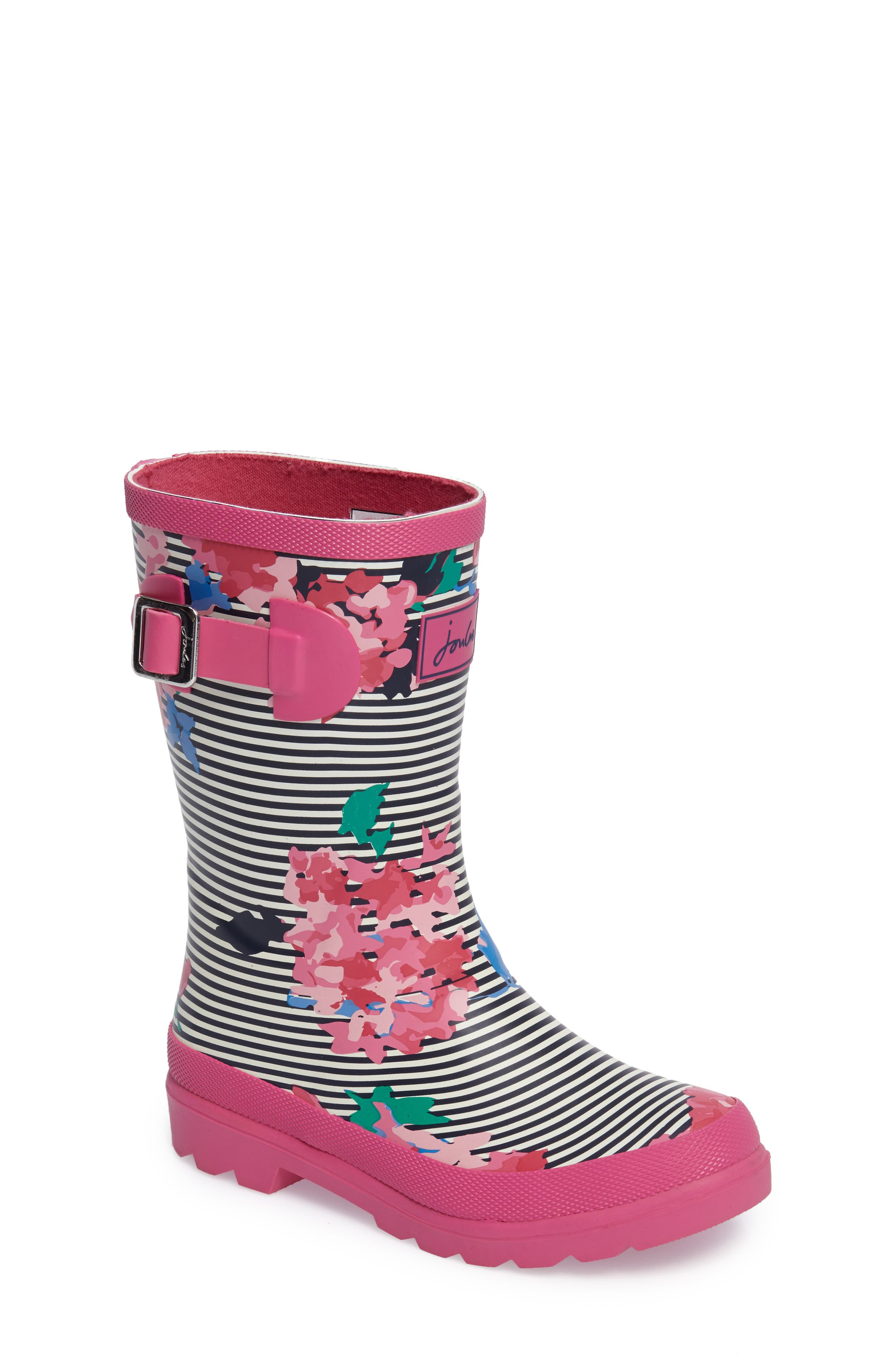 Welly Printed Waterproof Rain Boot,                             Main thumbnail 1, color,                             PINK STRIPE FLORAL