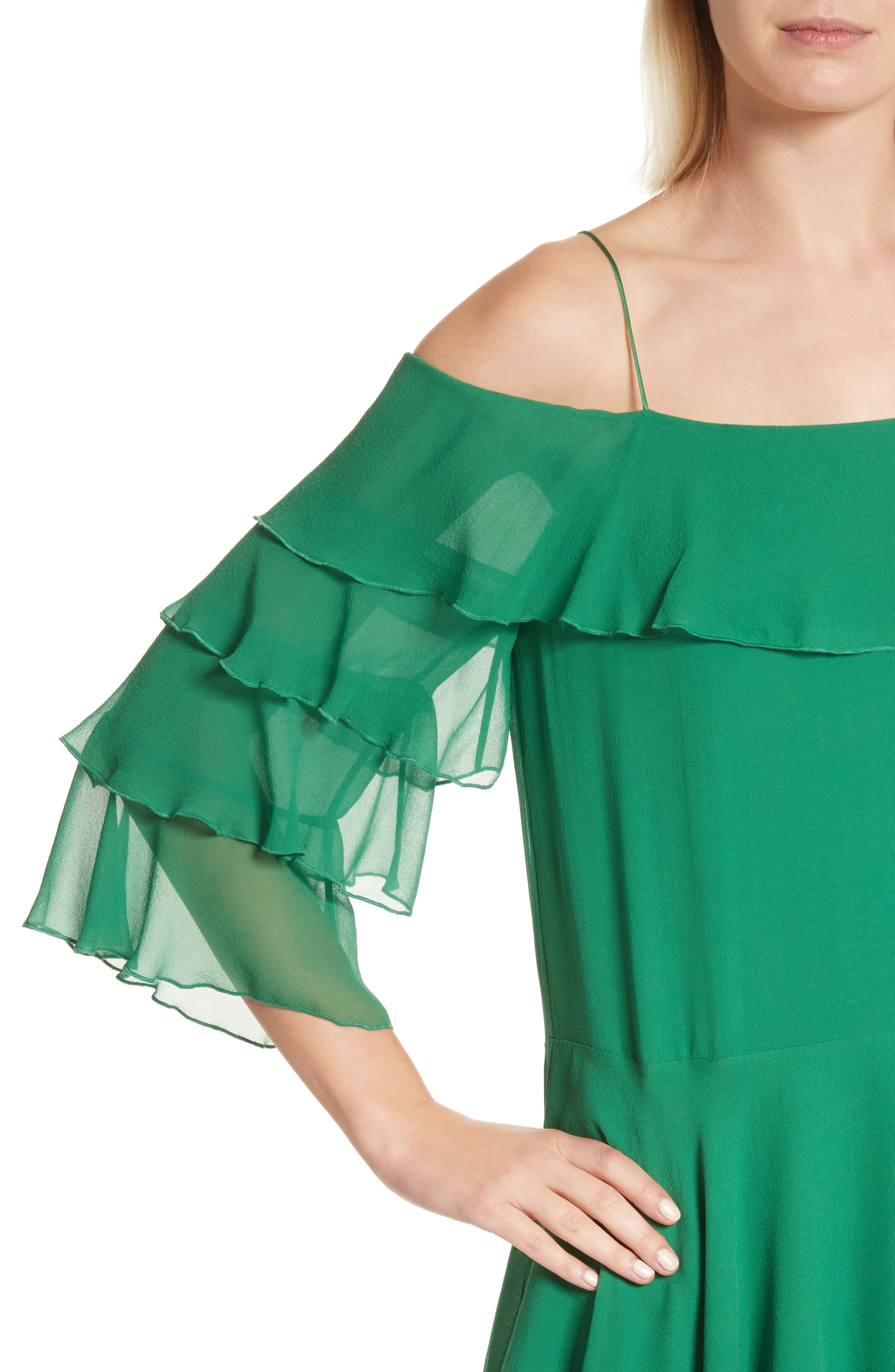 Lexis Lyrd Silk Cold Shoulder Ruffle Dress,                             Alternate thumbnail 4, color,                             316