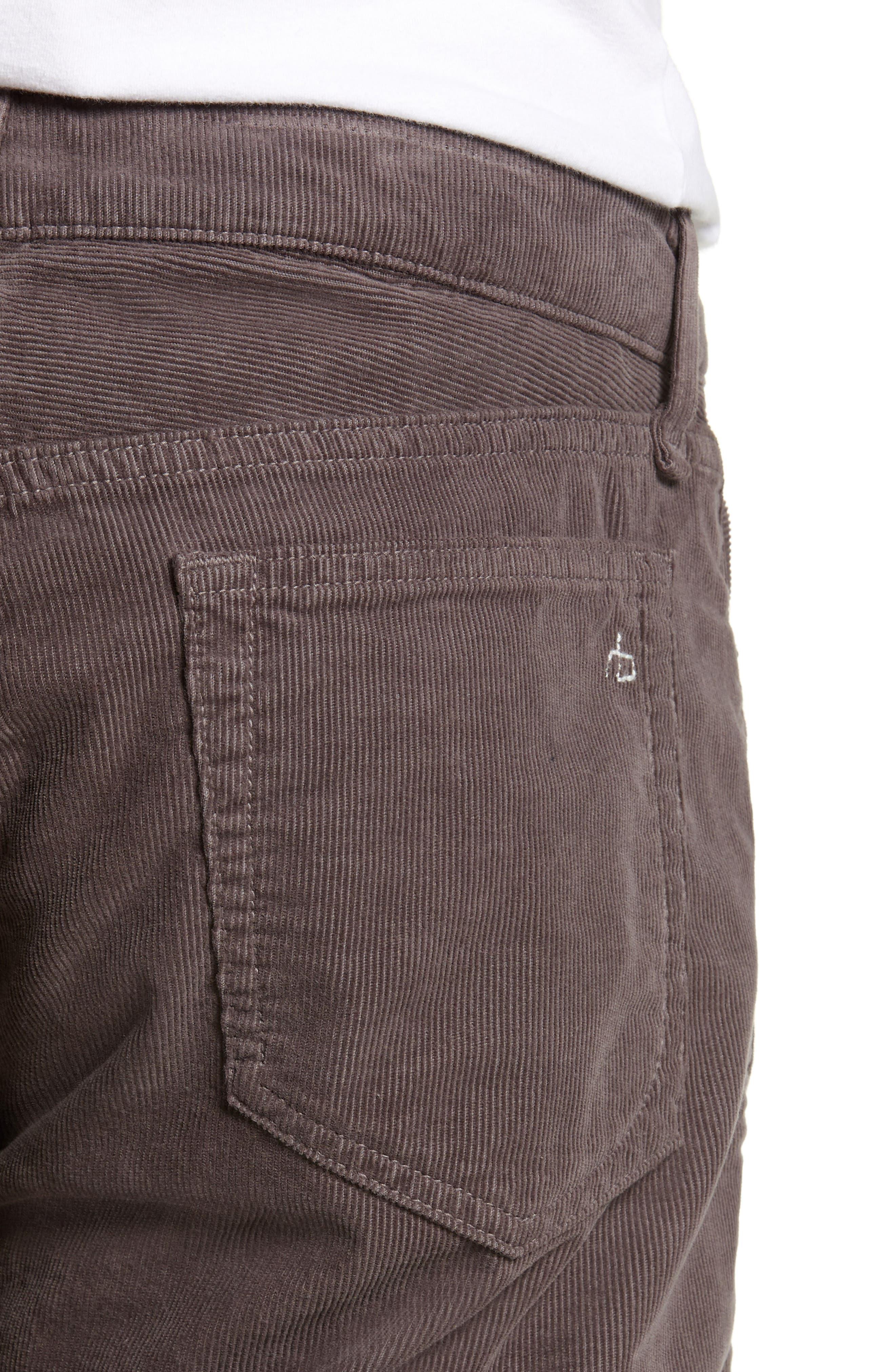 Slim Fit Corduroy Pants,                             Alternate thumbnail 4, color,                             CHARCOAL