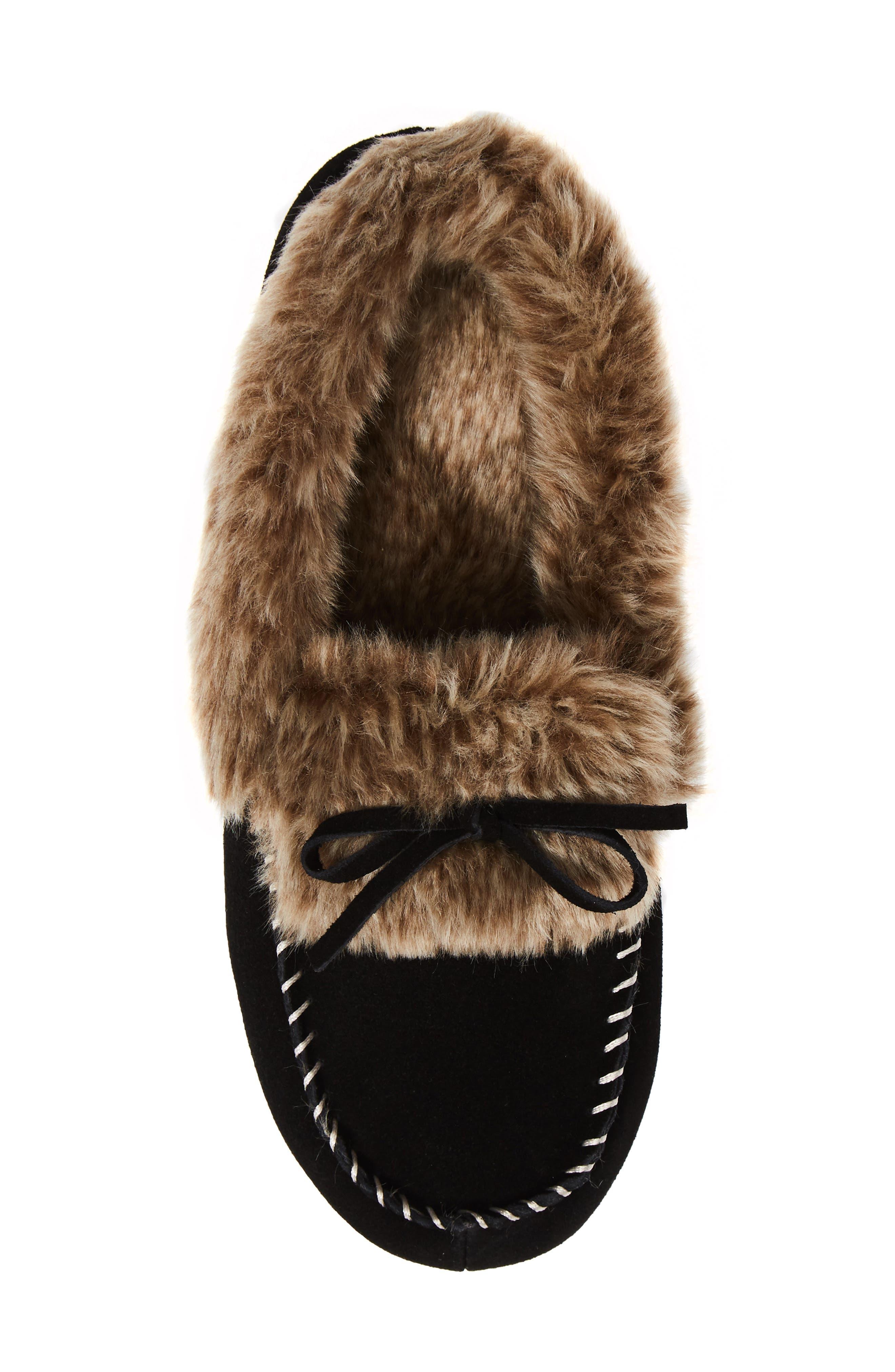 Faux Fur Trim Moccasin Indoor/Outdoor Slipper,                             Alternate thumbnail 5, color,                             BLACK SUEDE