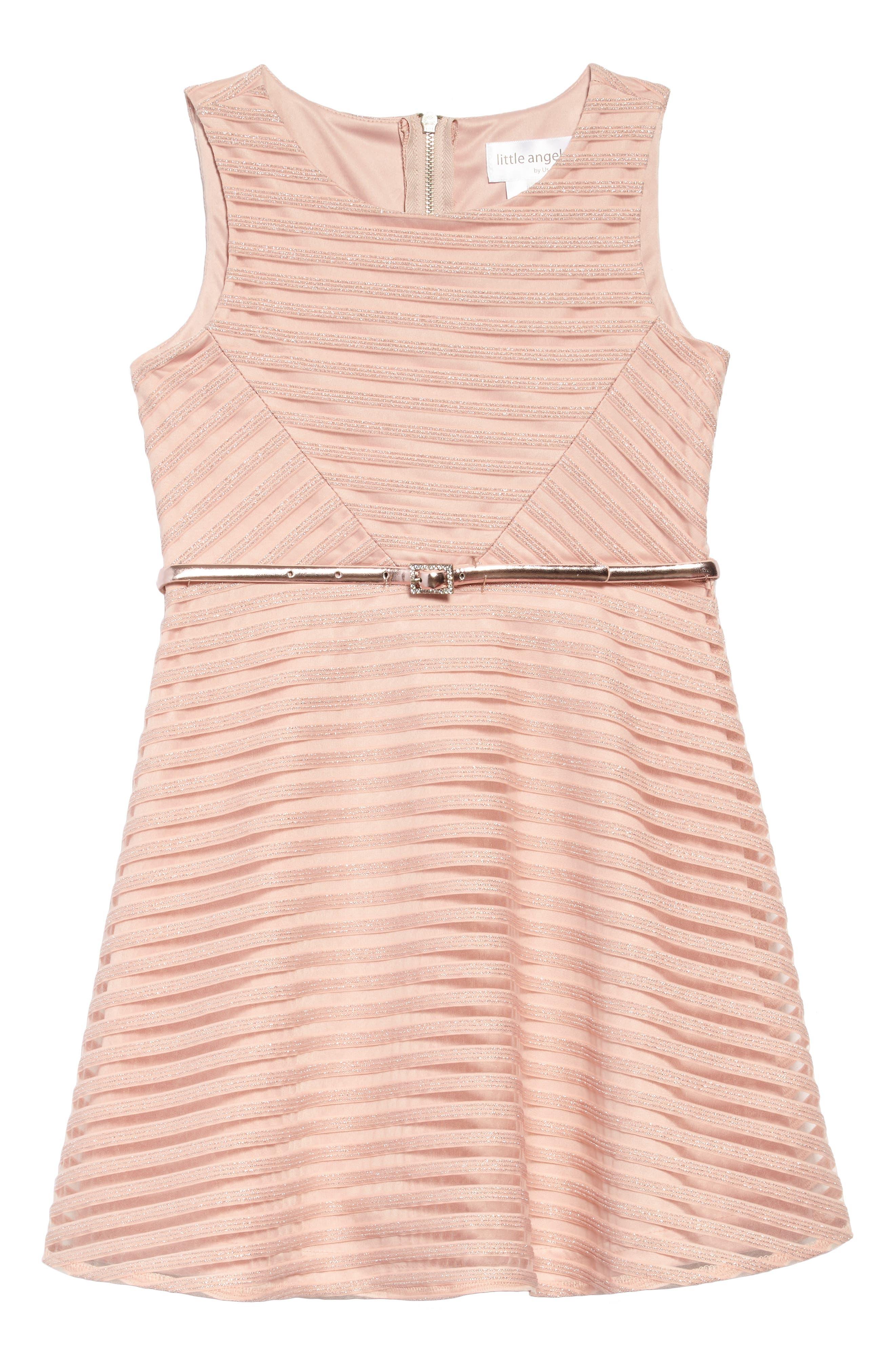 Shadow Stripe Mesh Skater Dress,                         Main,                         color, 650
