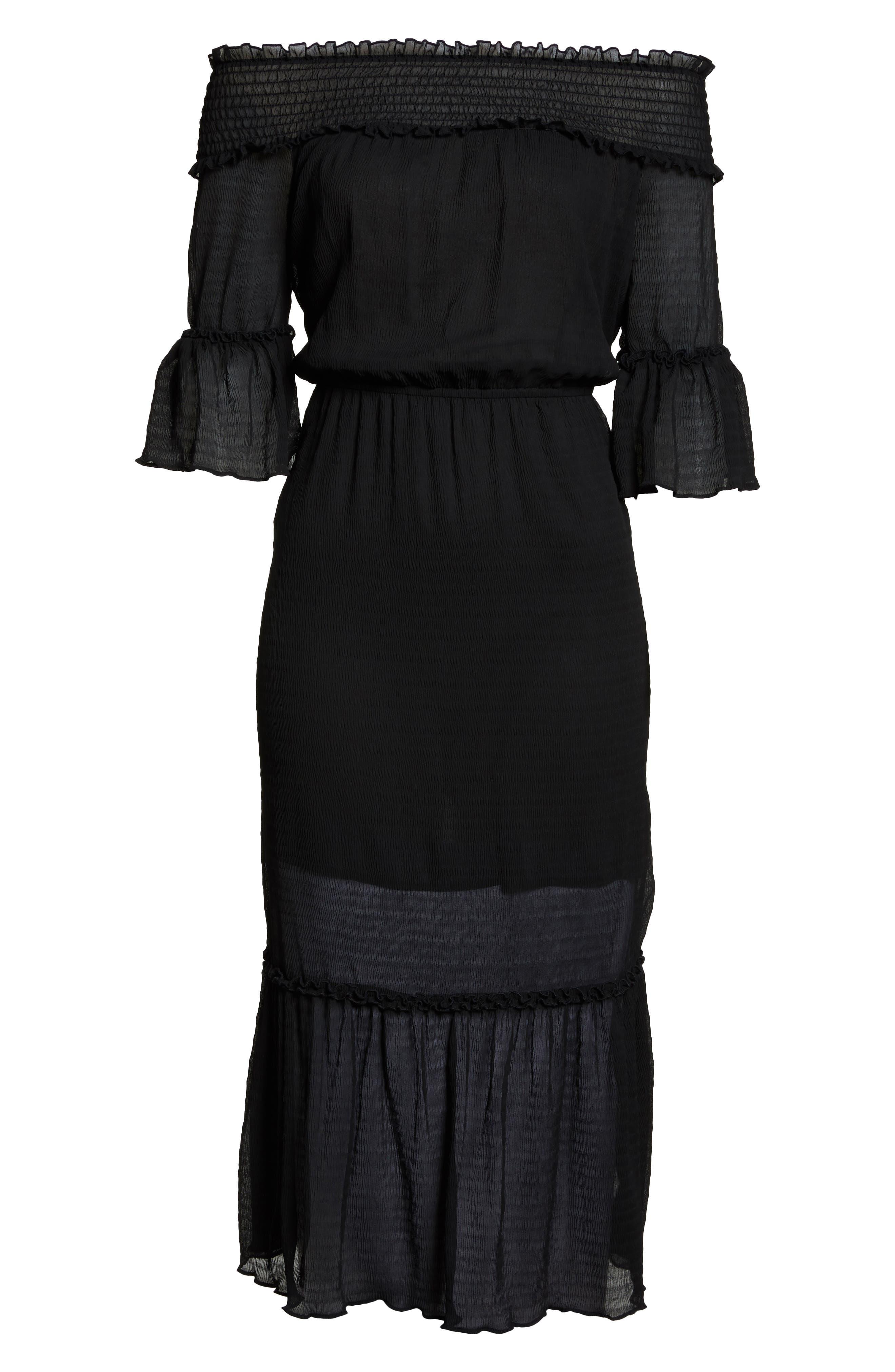 CHELSEA28,                             Off the Shoulder Midi Dress,                             Alternate thumbnail 7, color,                             001