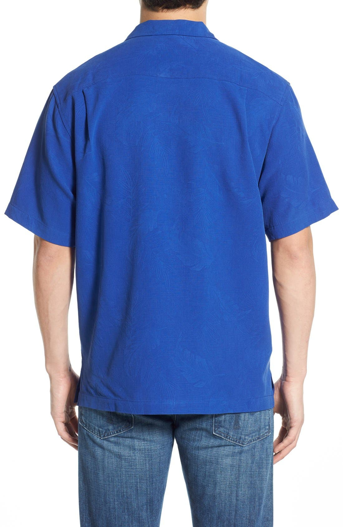 Rio Fronds Short Sleeve Silk Sport Shirt,                             Alternate thumbnail 27, color,