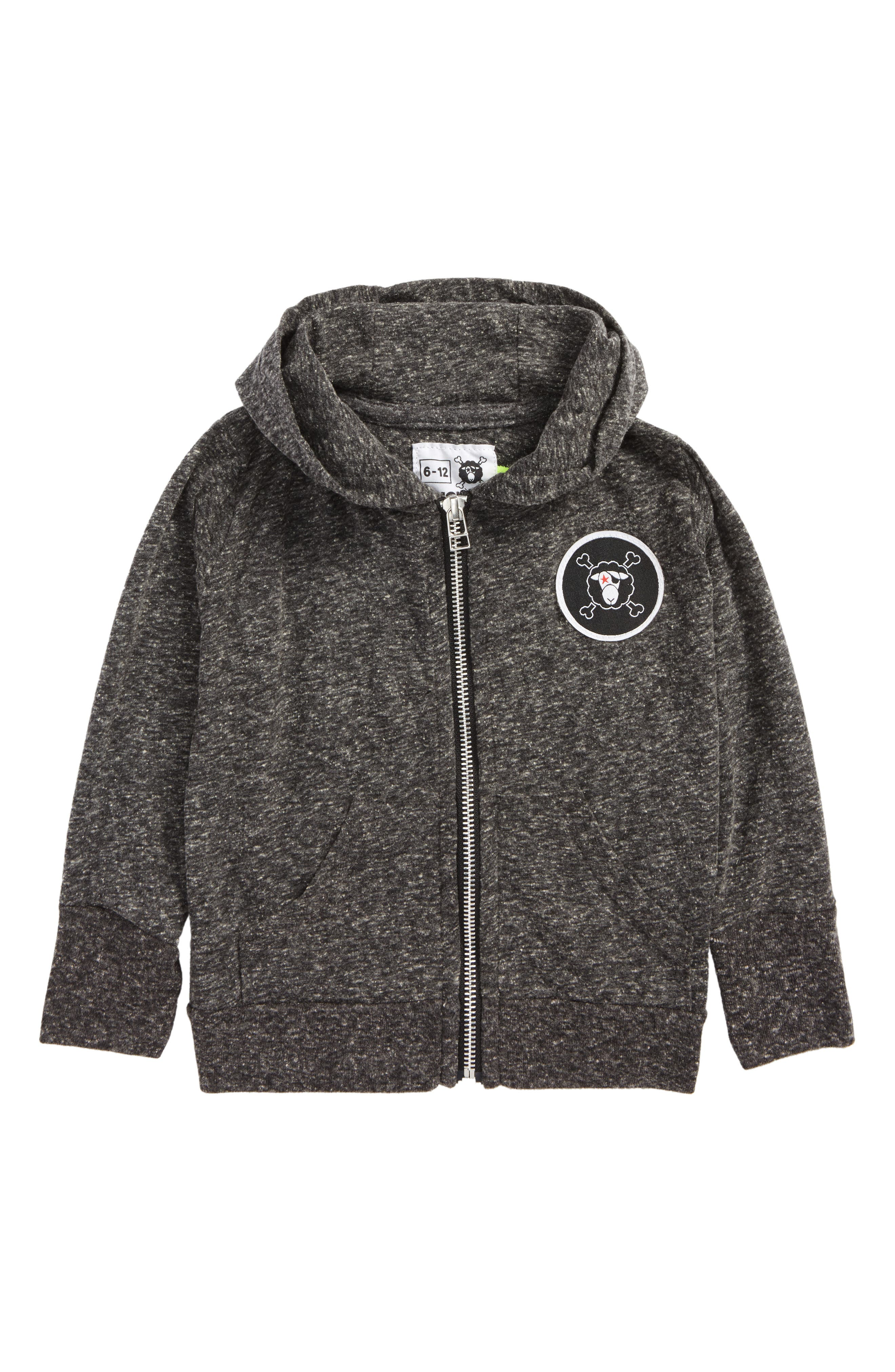 Logo Patch Zip Front Hoodie,                             Main thumbnail 1, color,                             020