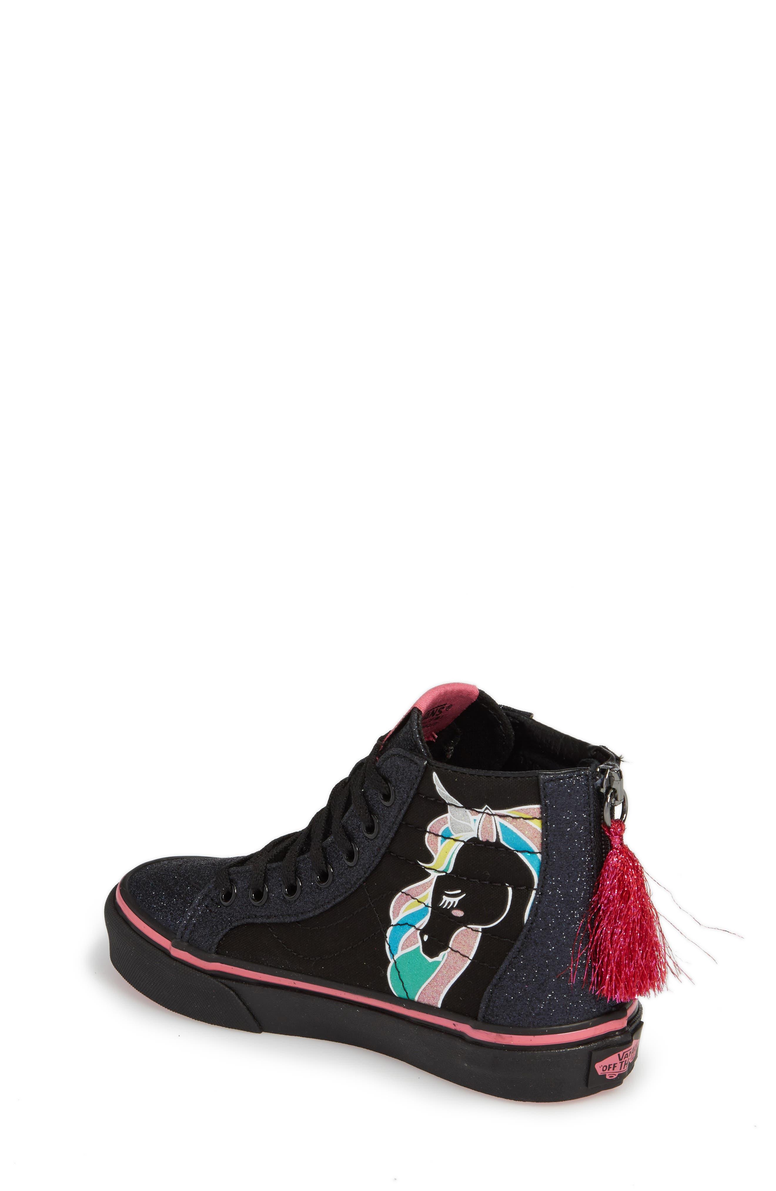 Sk8-Hi Zip Unicorn Glitter High Top Sneaker,                             Alternate thumbnail 3, color,