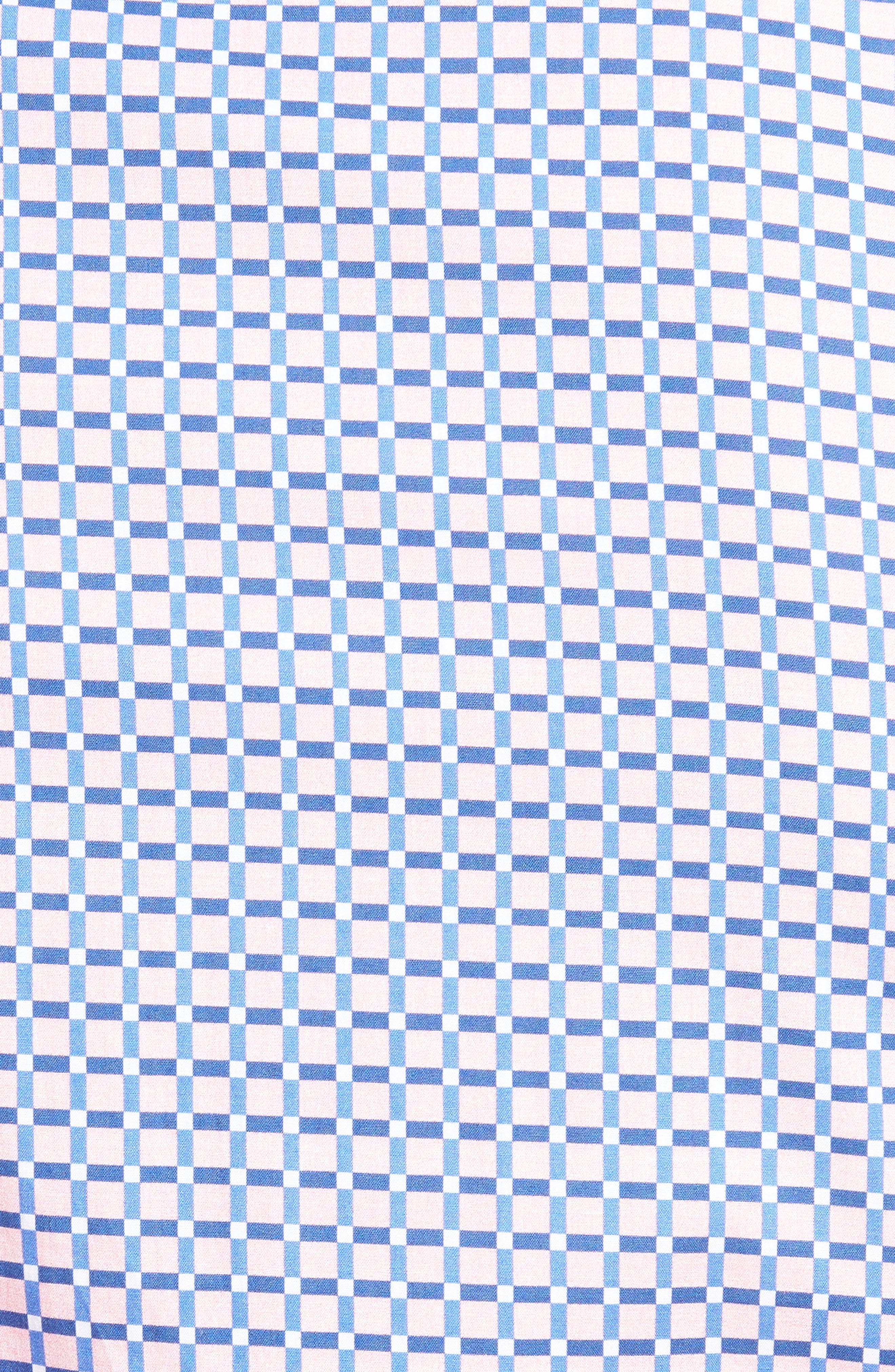 Shaped Fit Grid Print Sport Shirt,                             Alternate thumbnail 5, color,                             682