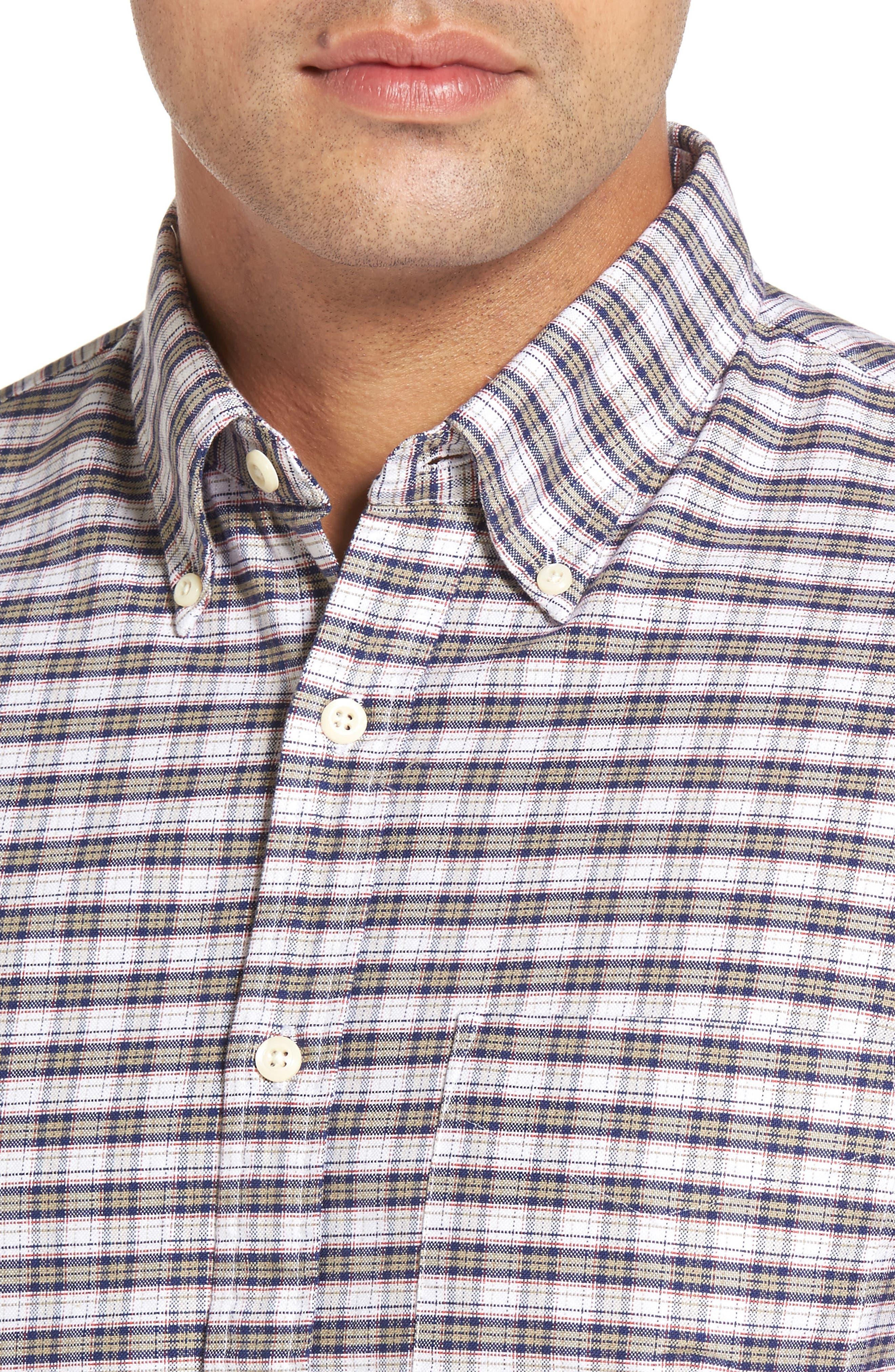 Crown Vintage Plaid Regular Fit Sport Shirt,                             Alternate thumbnail 4, color,