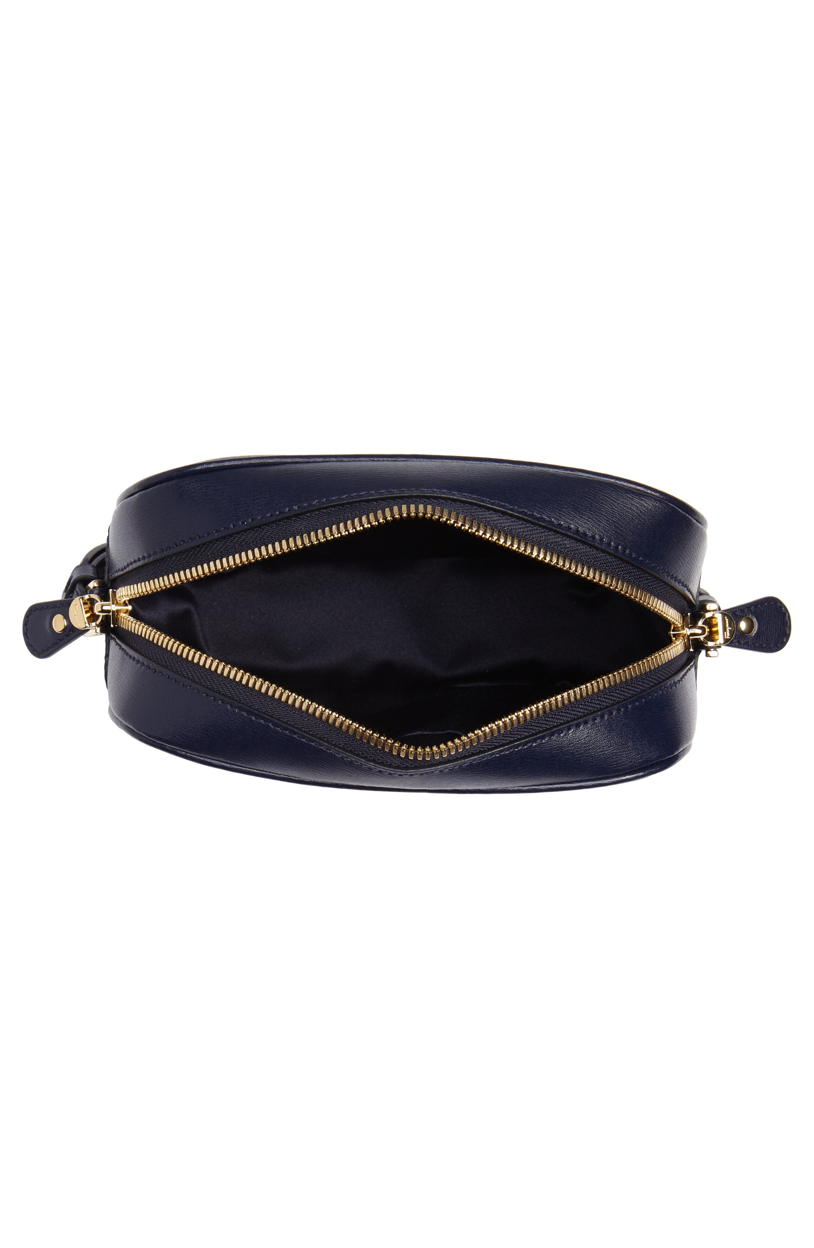 Gancio Metallic Leather Camera Bag,                             Alternate thumbnail 4, color,                             NAVY