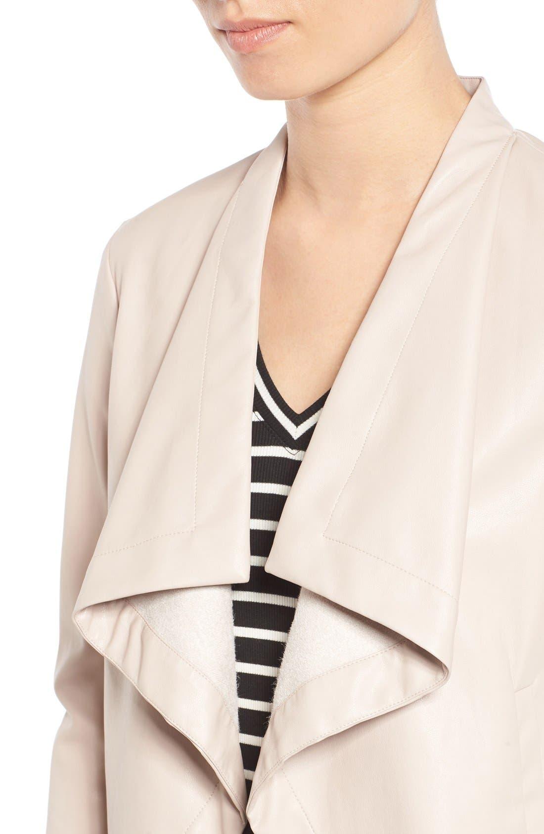 'Peppin' Drape Front Faux Leather Jacket,                             Alternate thumbnail 36, color,