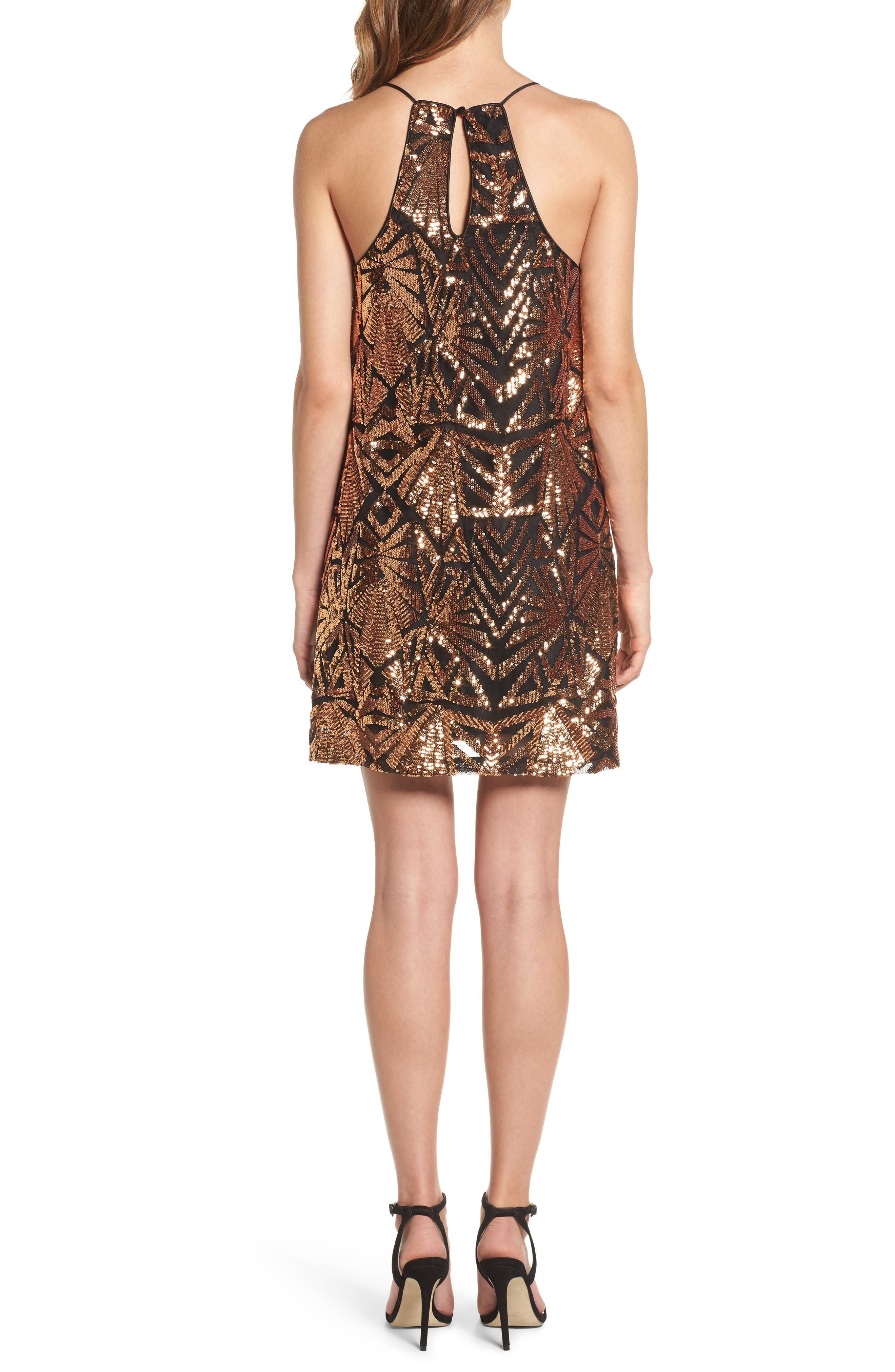 Sequined High Neck Dress,                             Alternate thumbnail 2, color,                             710