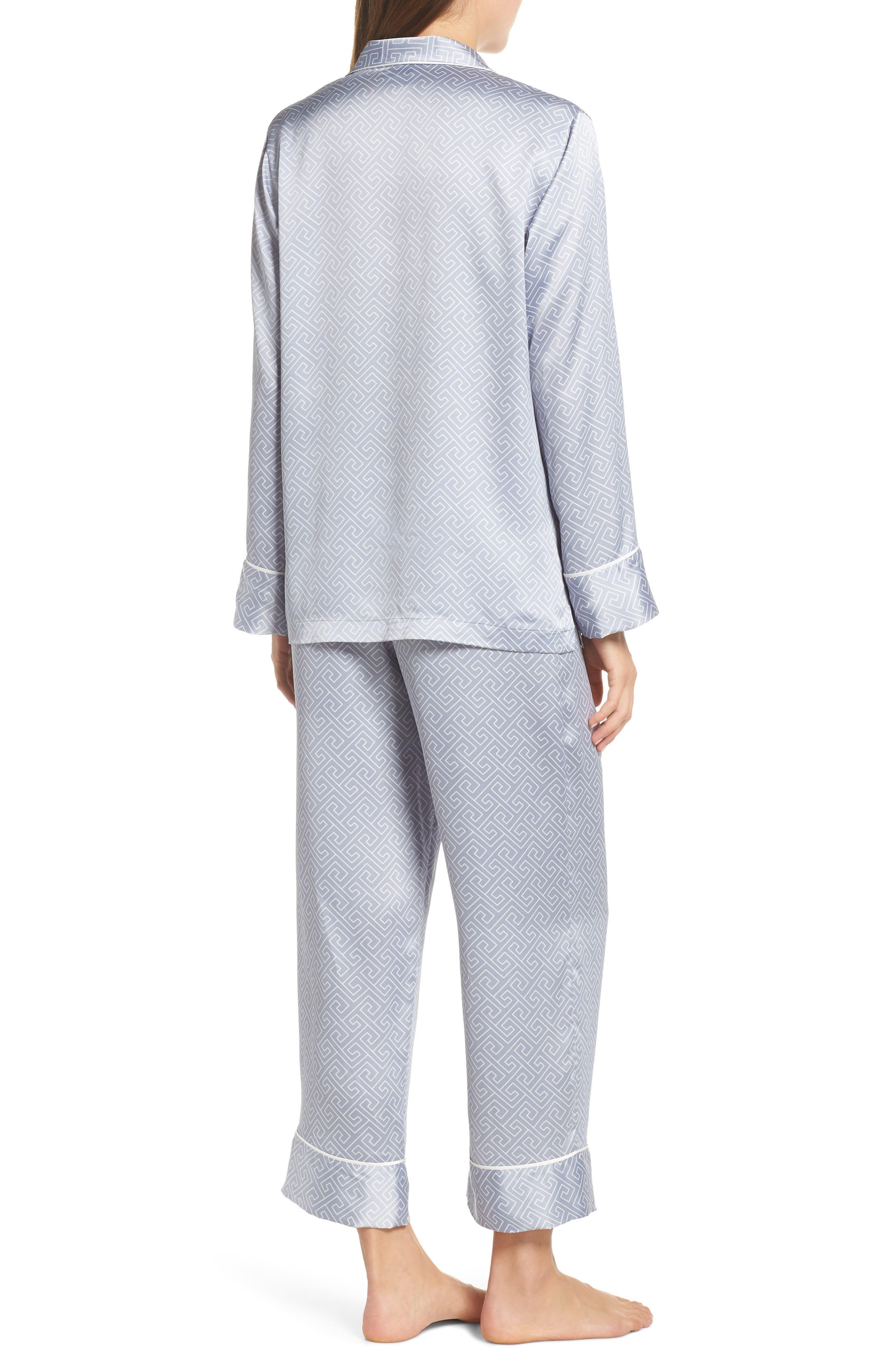 Labyrinth Satin Pajamas,                             Alternate thumbnail 2, color,                             SMOKY IRIS