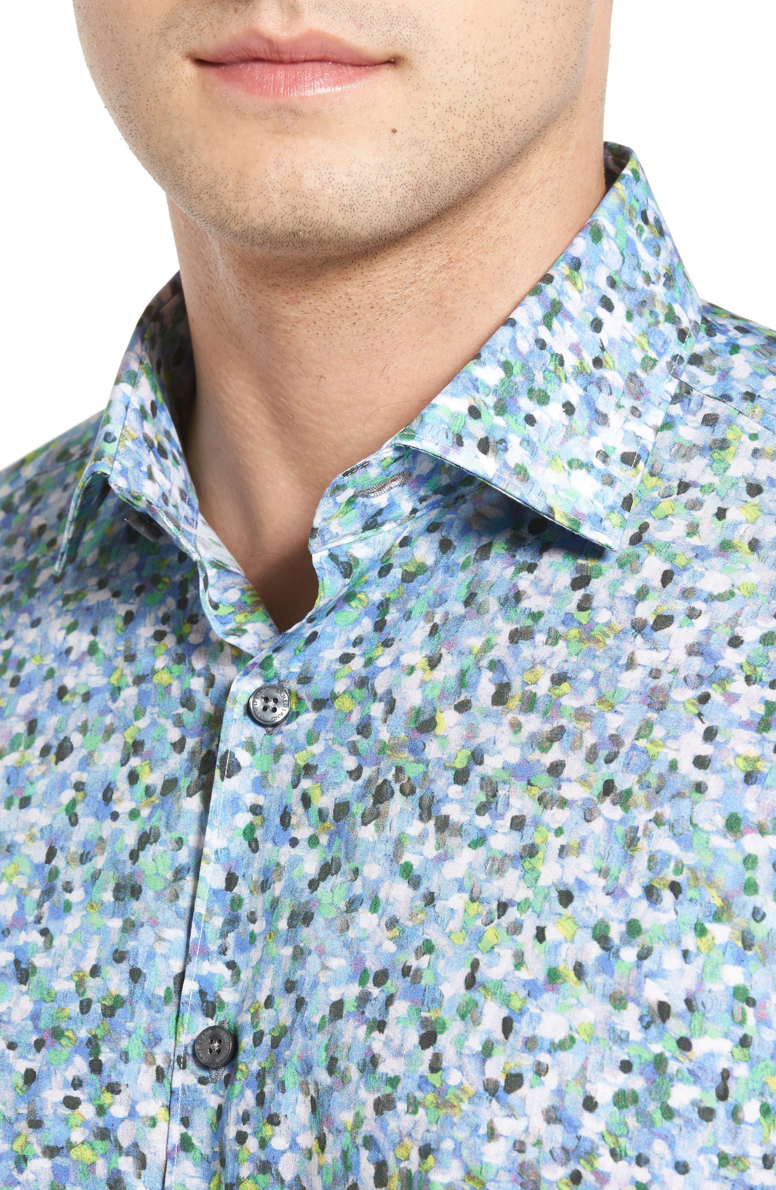 Trim Fit Print Sport Shirt,                             Alternate thumbnail 4, color,                             400