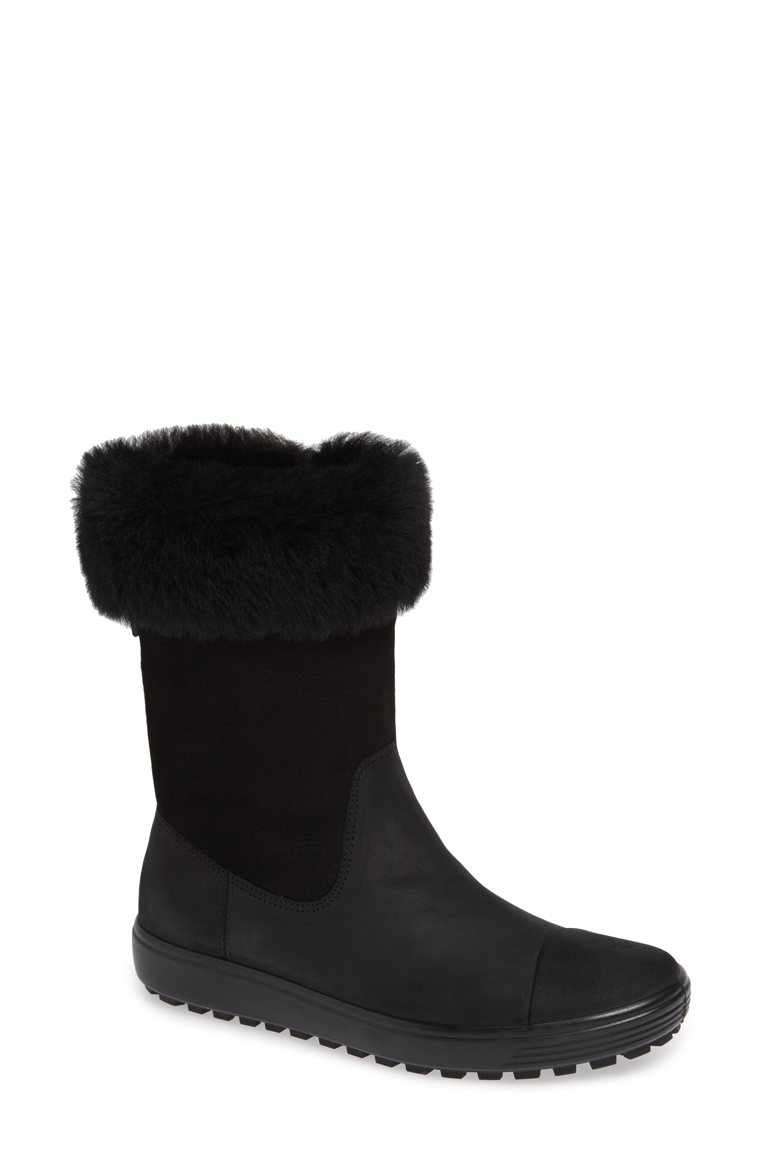 Ecco Soft 7 Tred Waterproof Genuine Shearling Lined Boot, Black